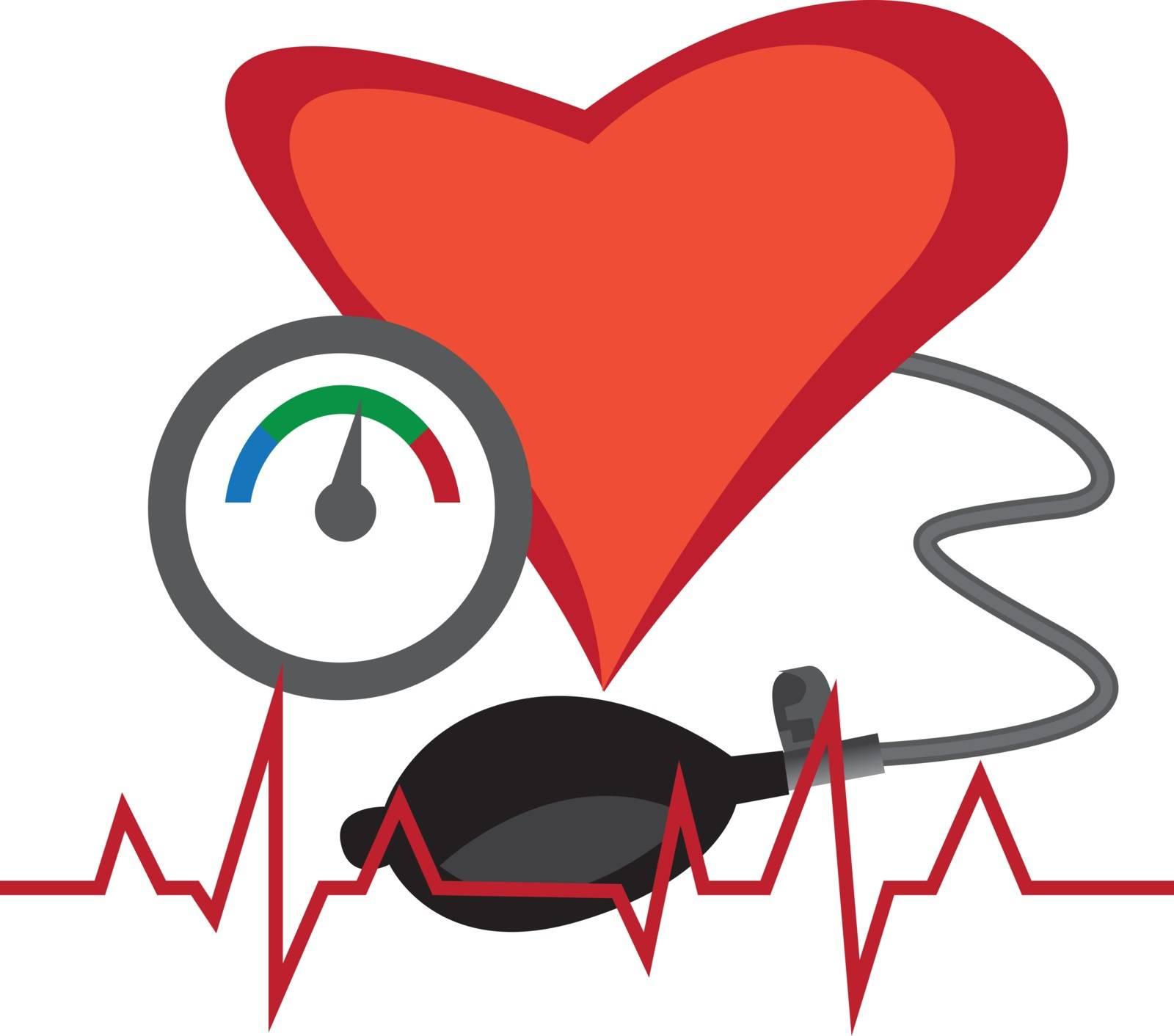 Blood pressure measuring vector illustration on a white background