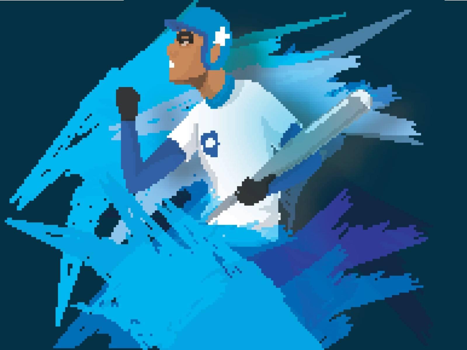 Illustration of aggressive baseball player on abstract brush stroke background.