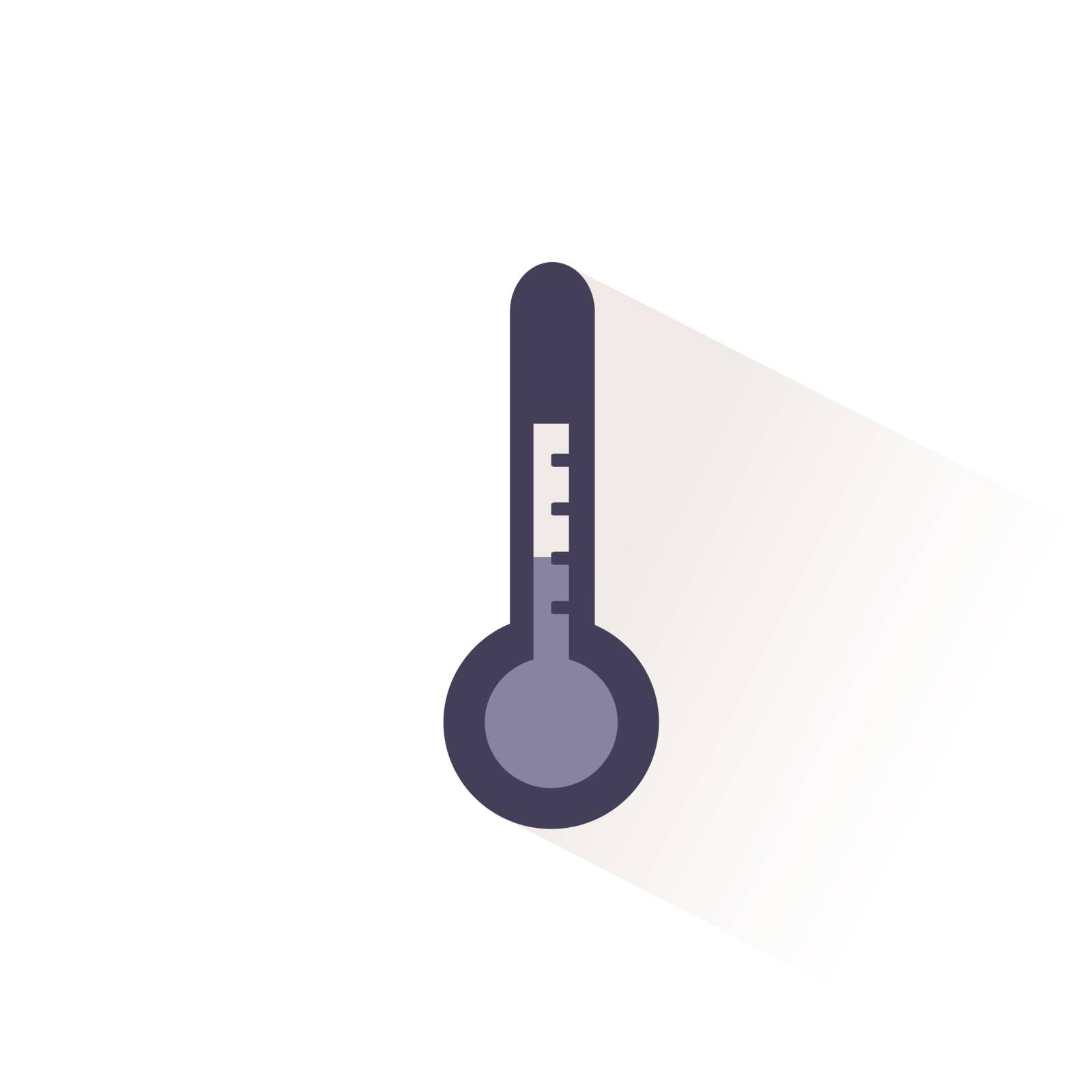 Weather thermometer color icon with shadow. Flat vector illustration