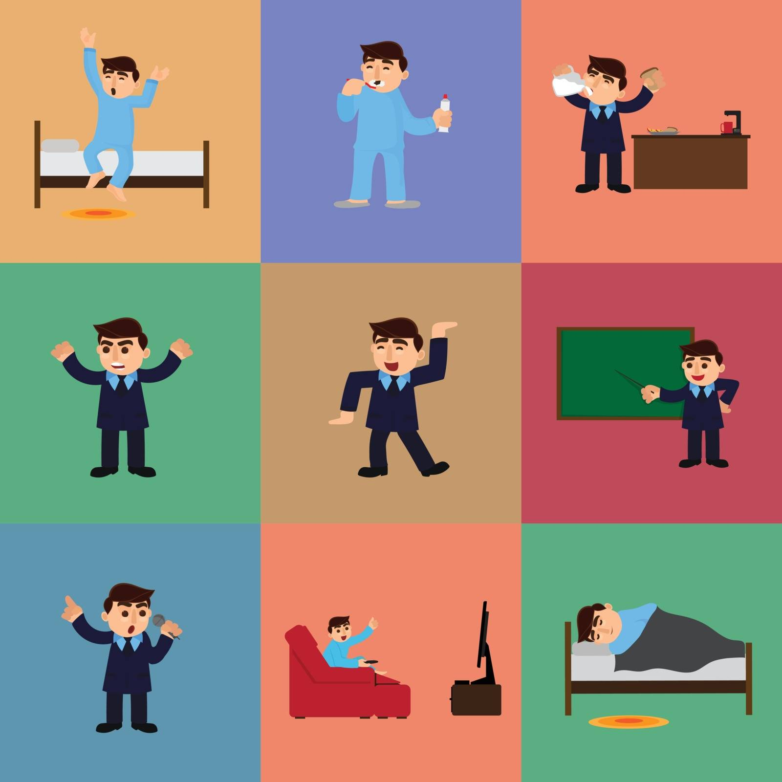 Set of businessman daily routine. by aispl