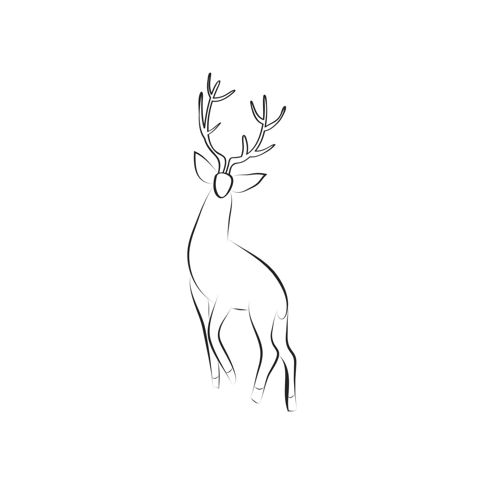 Black and white deer stands. Side view. Stag with large antlers isolated. Design animal for emblem, logo, invitation. Minimalism graphics style. Vector illustration with space for text. EPS 10.
