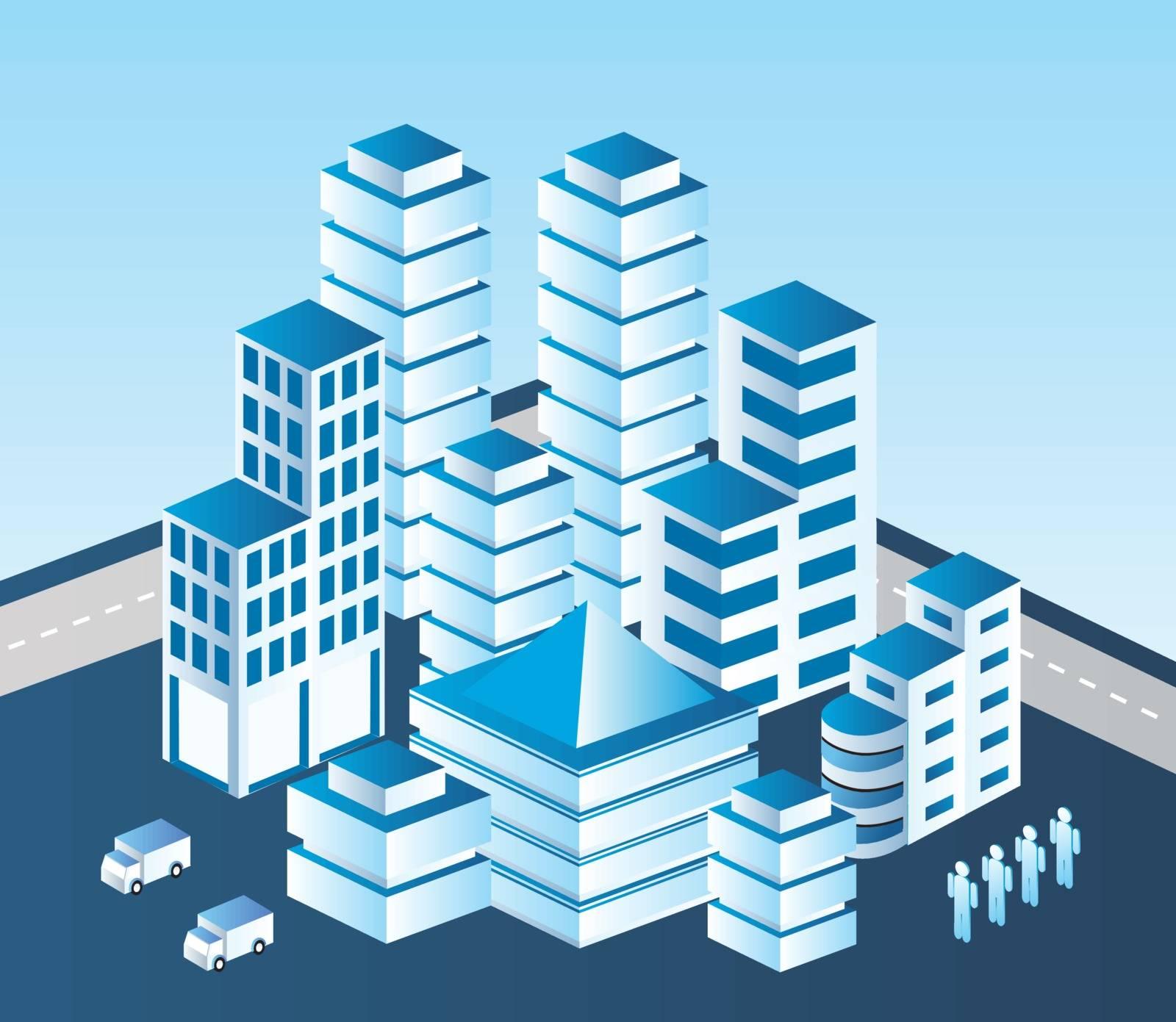 Isometric vector city in blue tones
