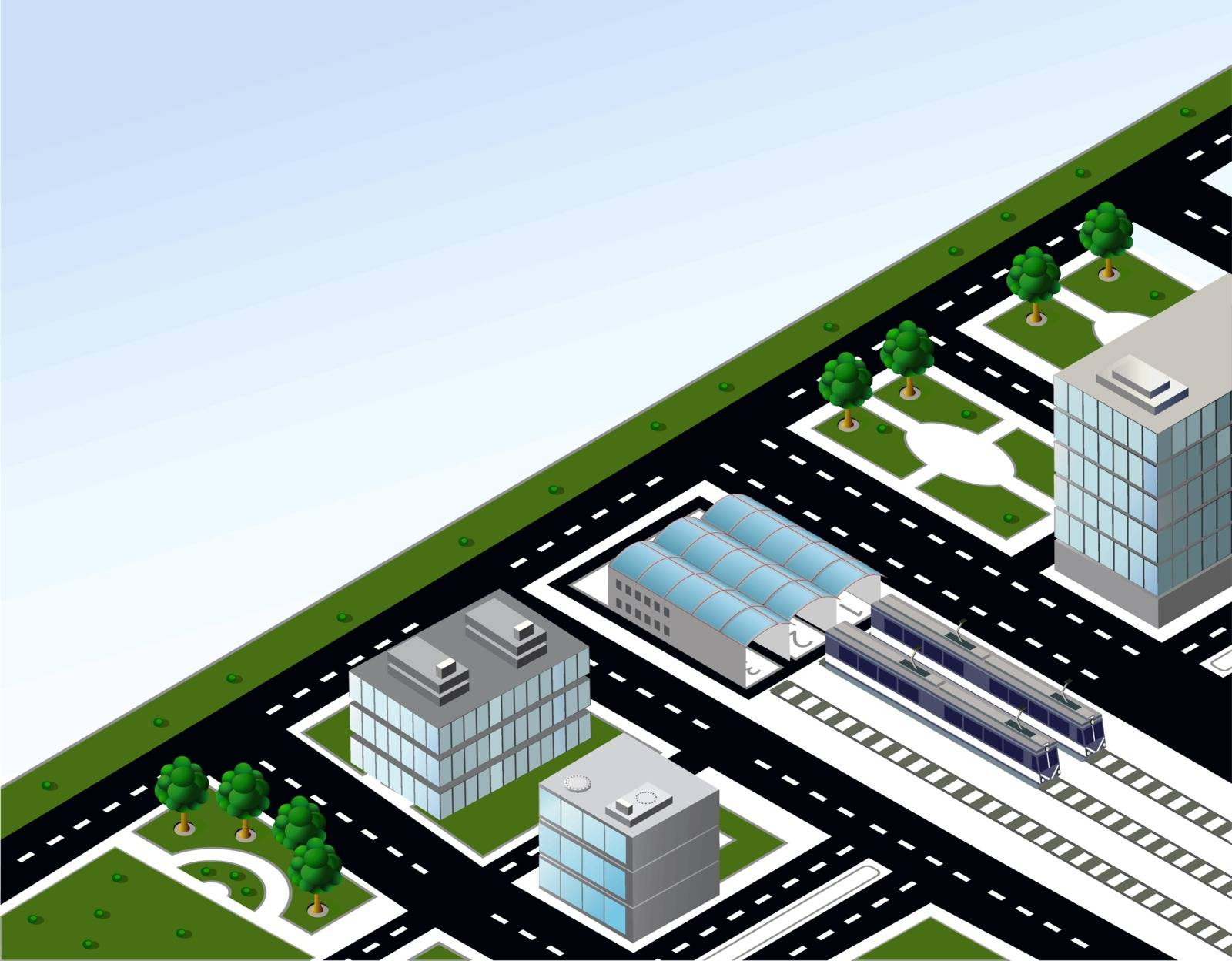 The isometric model of the transport on the background of sky
