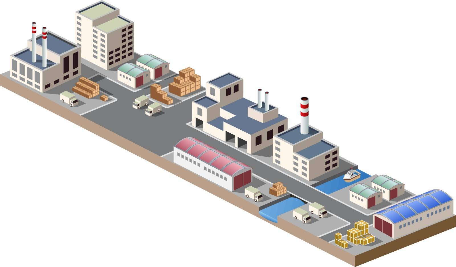 Illustration with elements of urban and industrial buildings
