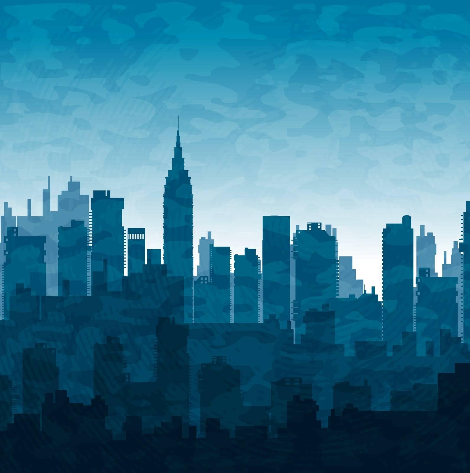 Silhouette of city skyscrapers buildings in blue tones