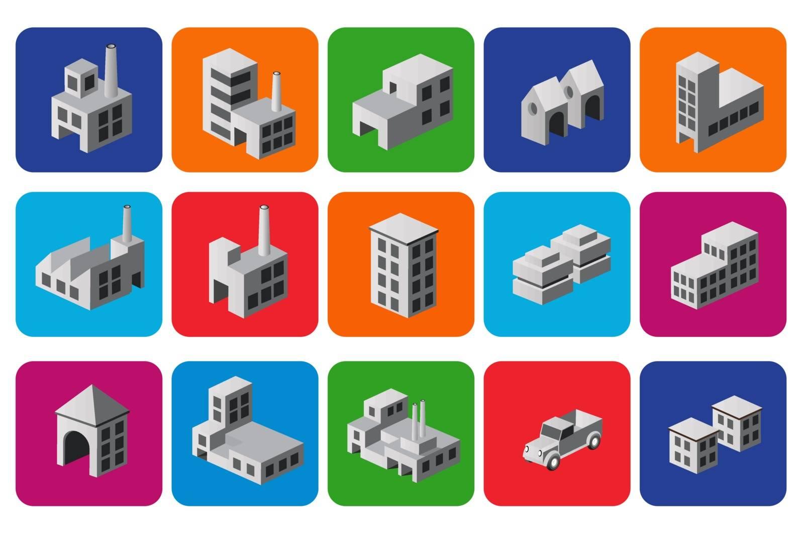 Set of icons isometric house, city symbols and icons. City icons.