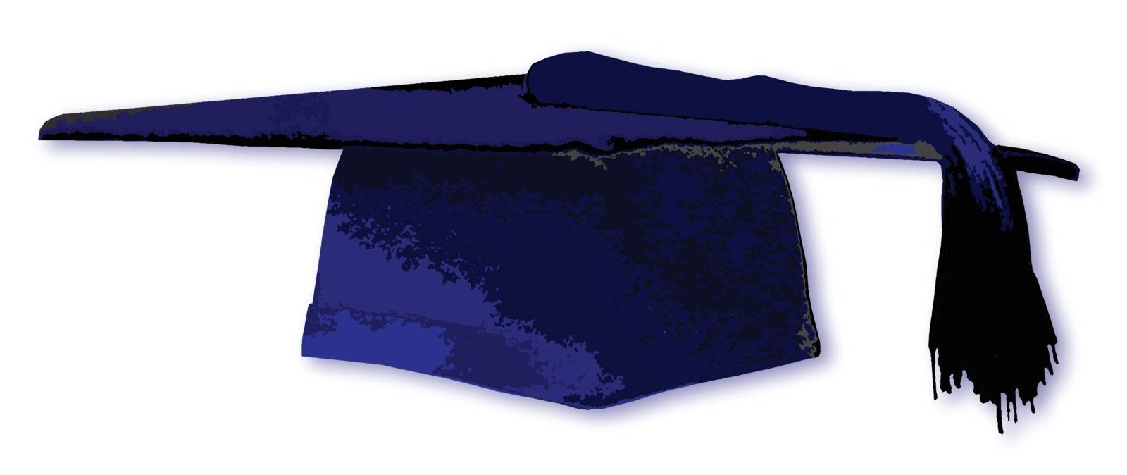 A blue mortarboard students cap over a white background