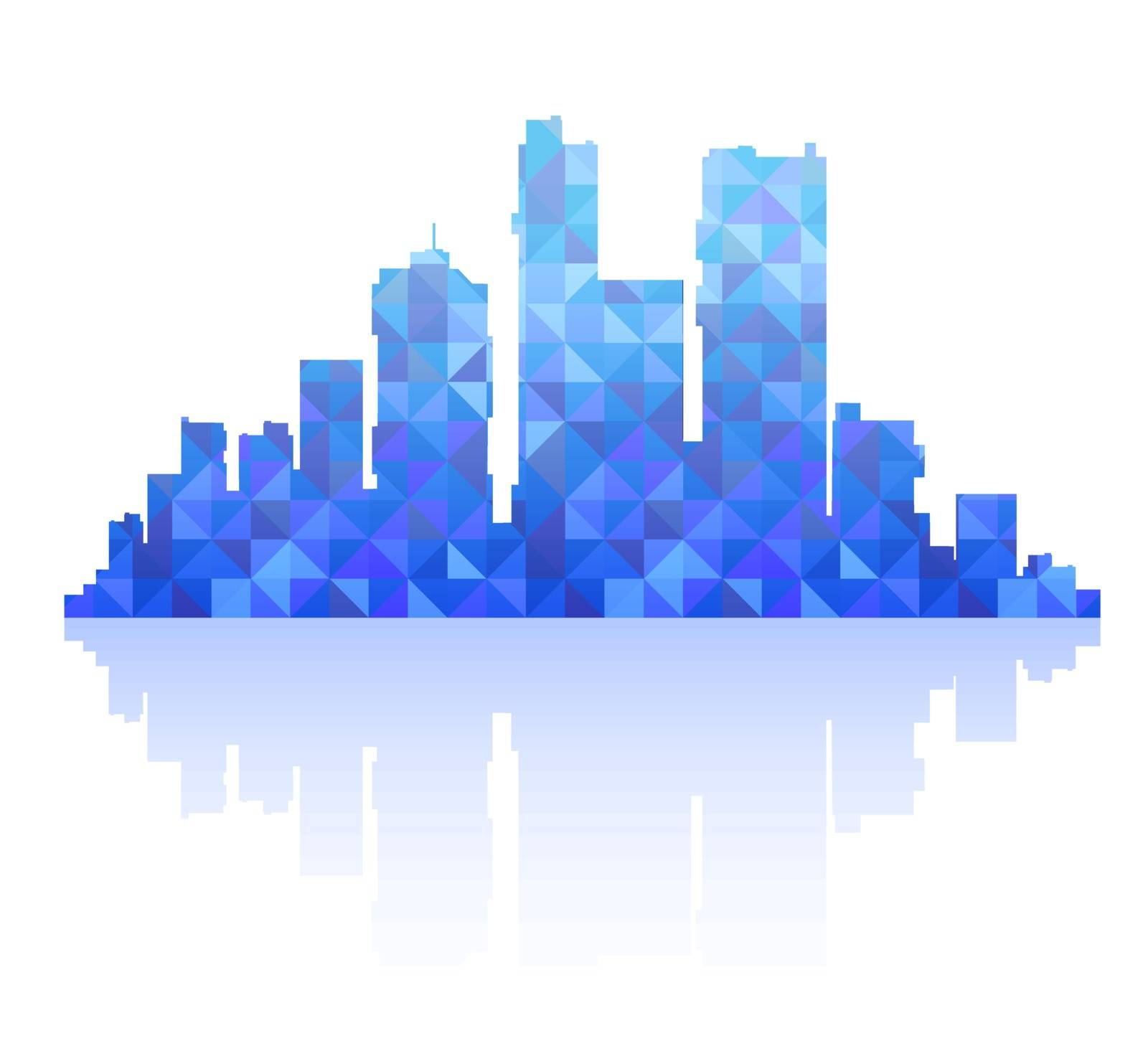 Silhouette of a city landscape with skyscrapers and city buildings