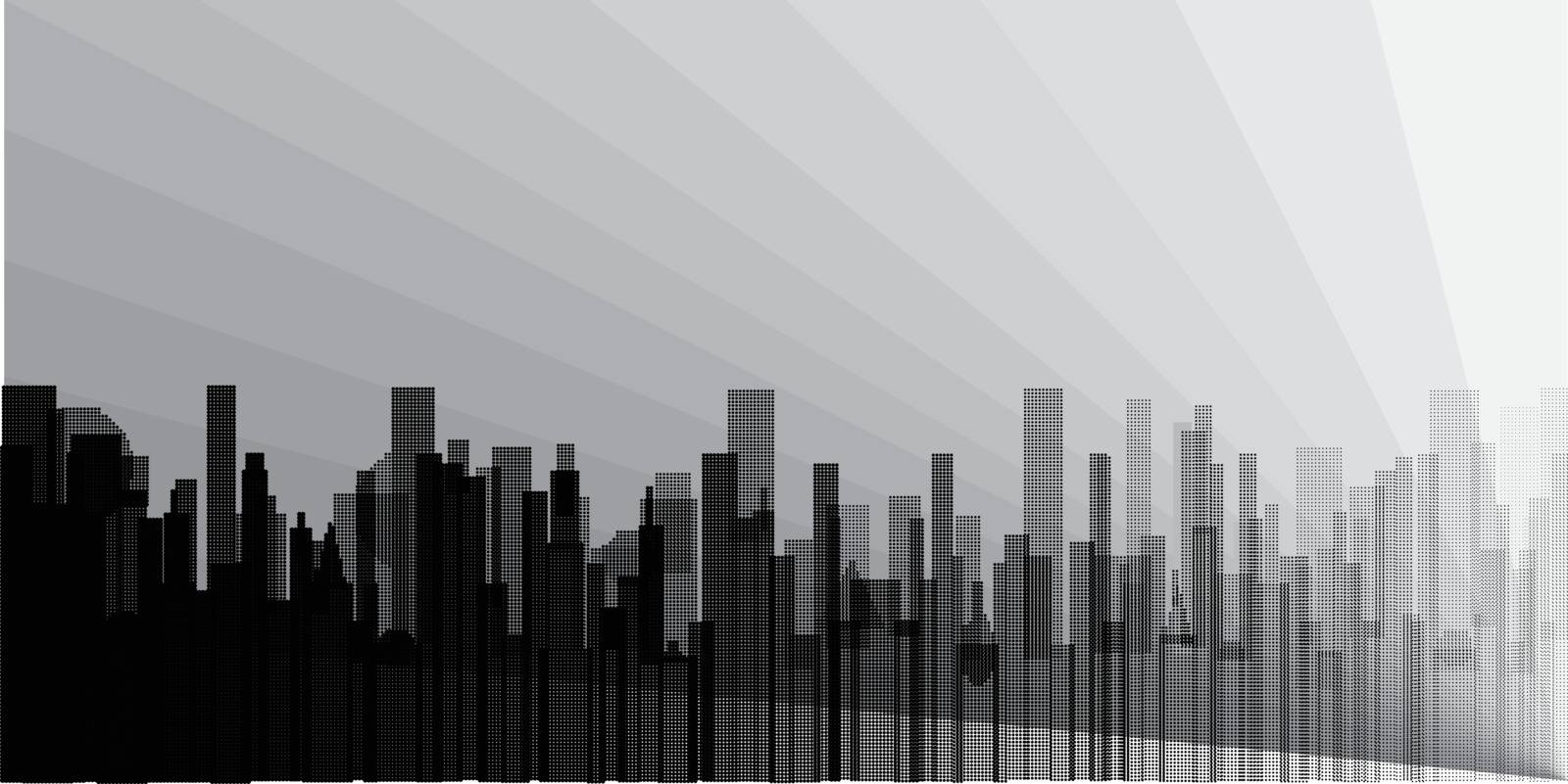 A grey cityscape with pollution shown in grey and silhouette.