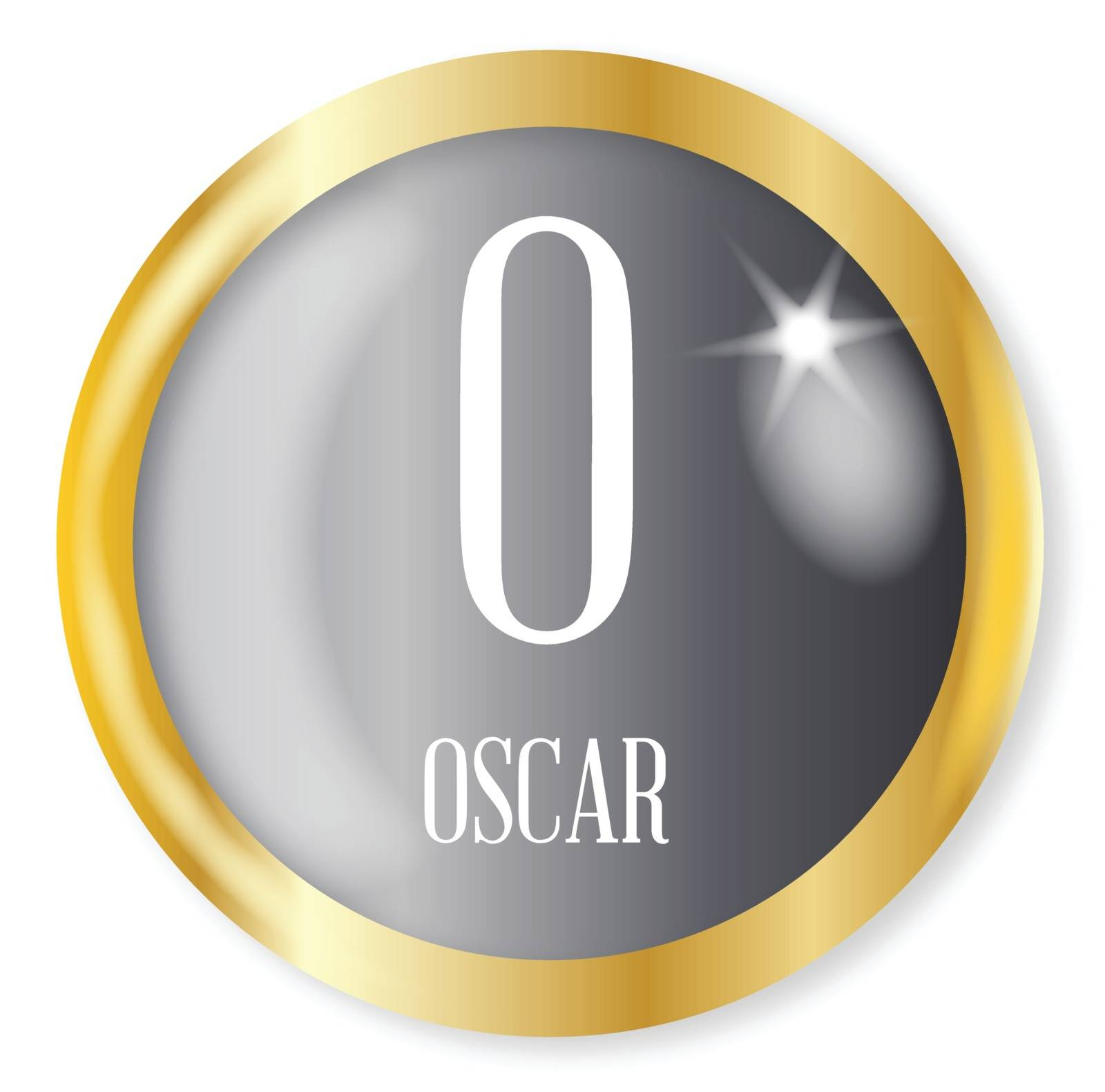 O for Oscarr button from the NATO phonetic alphabet with a gold metal circular border over a white background