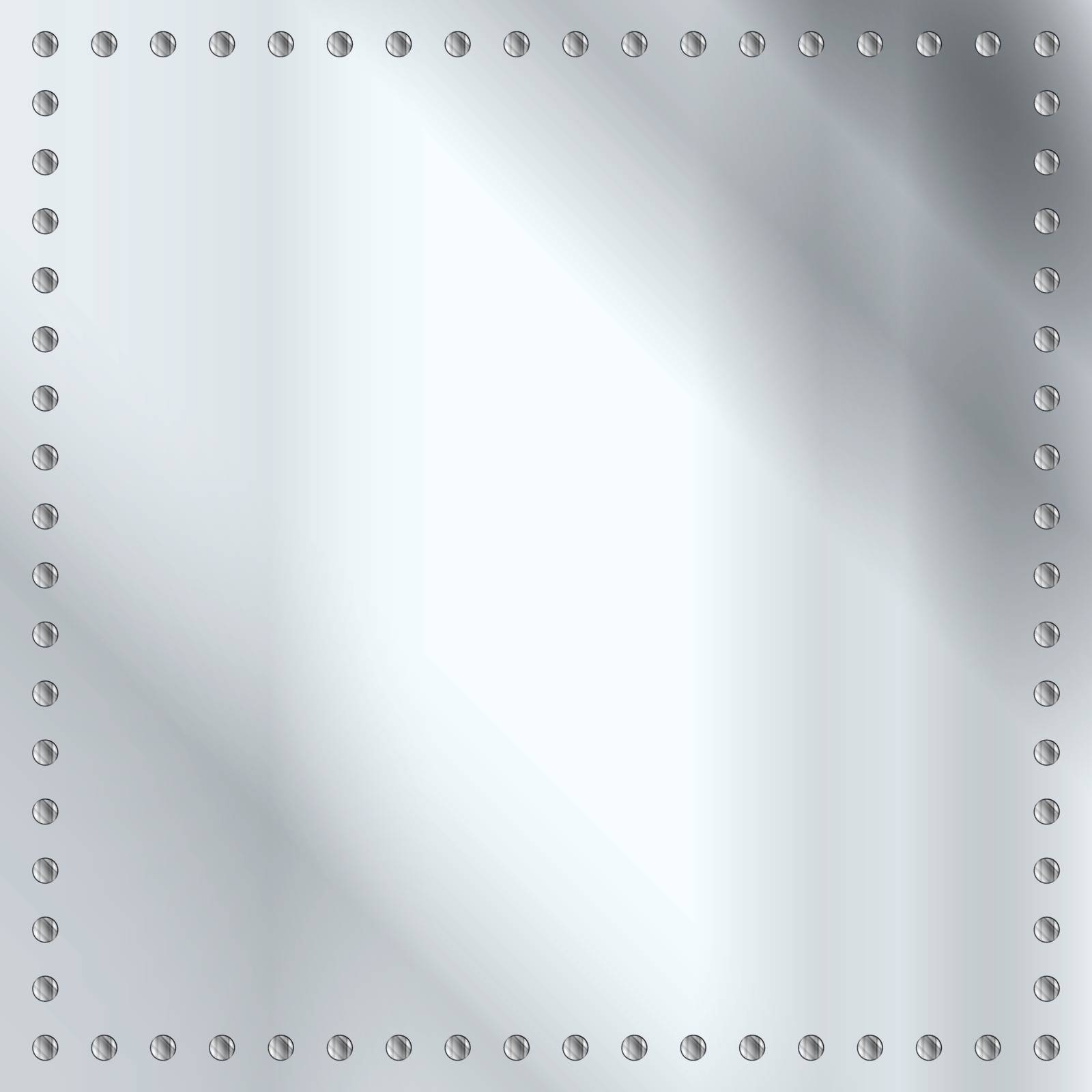 A steel or silver plate background with a rivet border