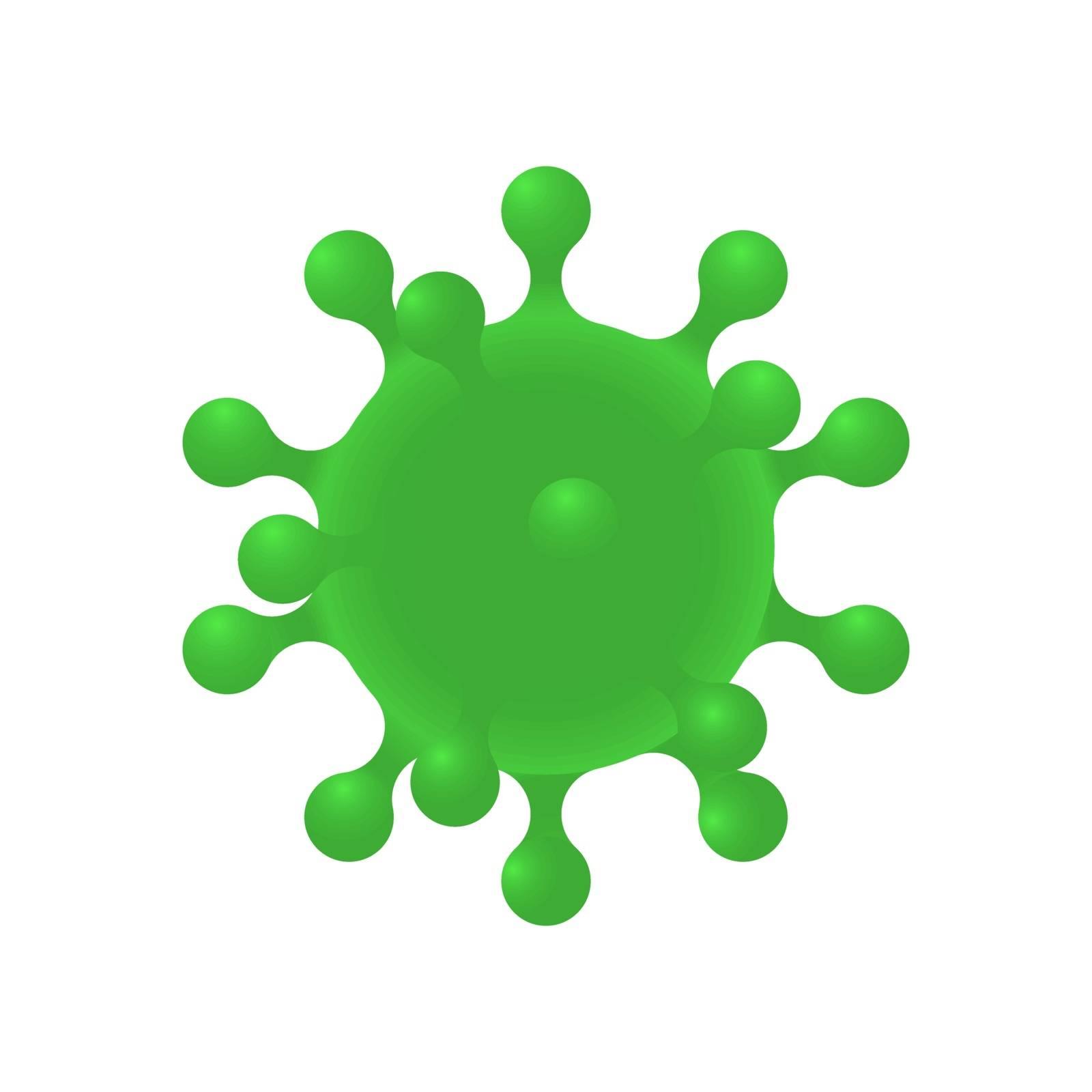 Coronavirus. Realistic 3d green virus cell. Corona virus symbol. Virus Covid 19-NCP.