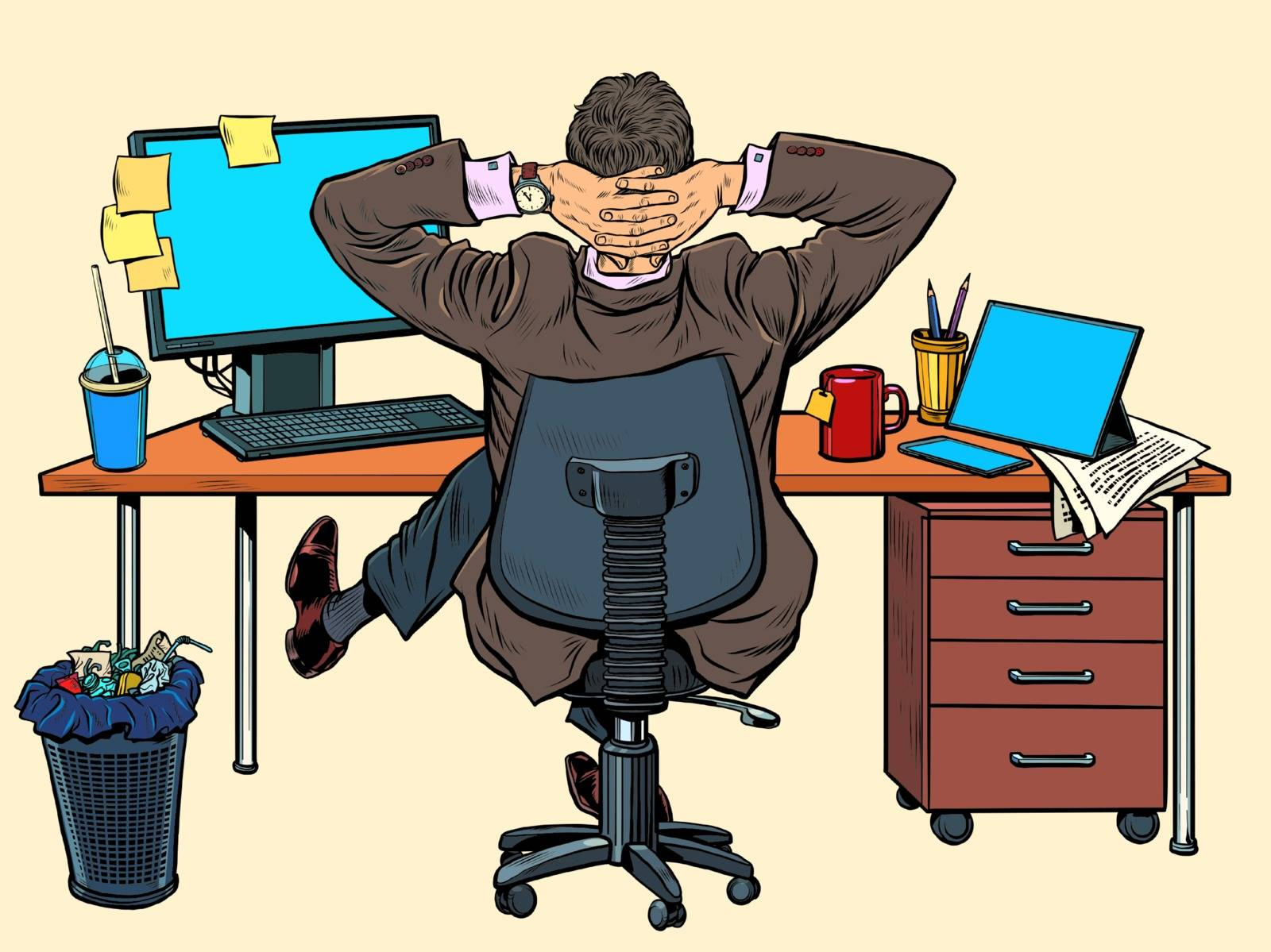 businessman resting in the office at his desk. Pop art retro vector illustration vintage kitsch 50s 60s style