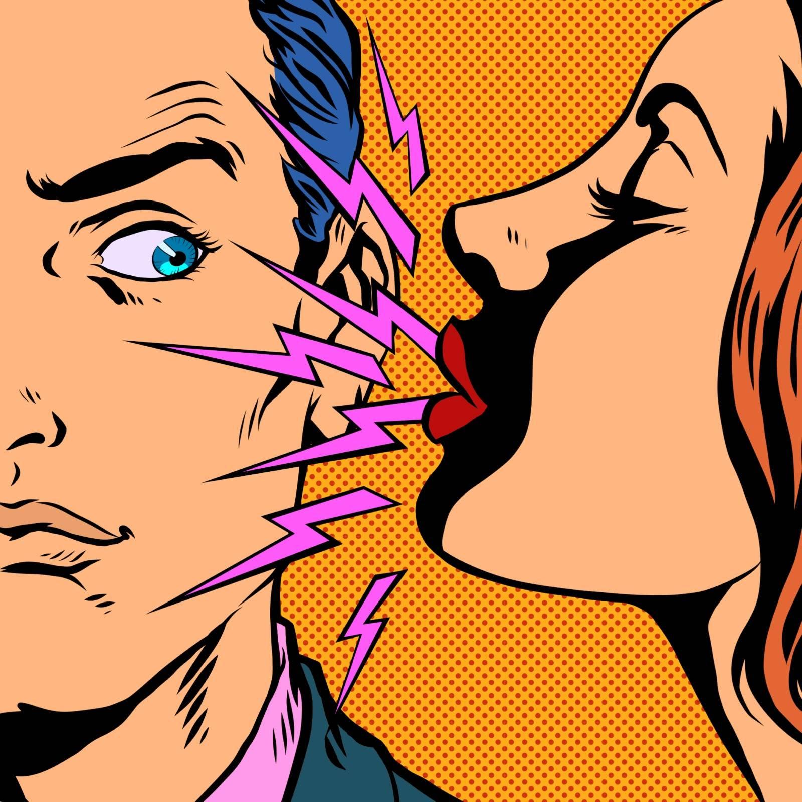 a woman sneezes at a man. Pop art retro vector illustration vintage kitsch 50s 60s style
