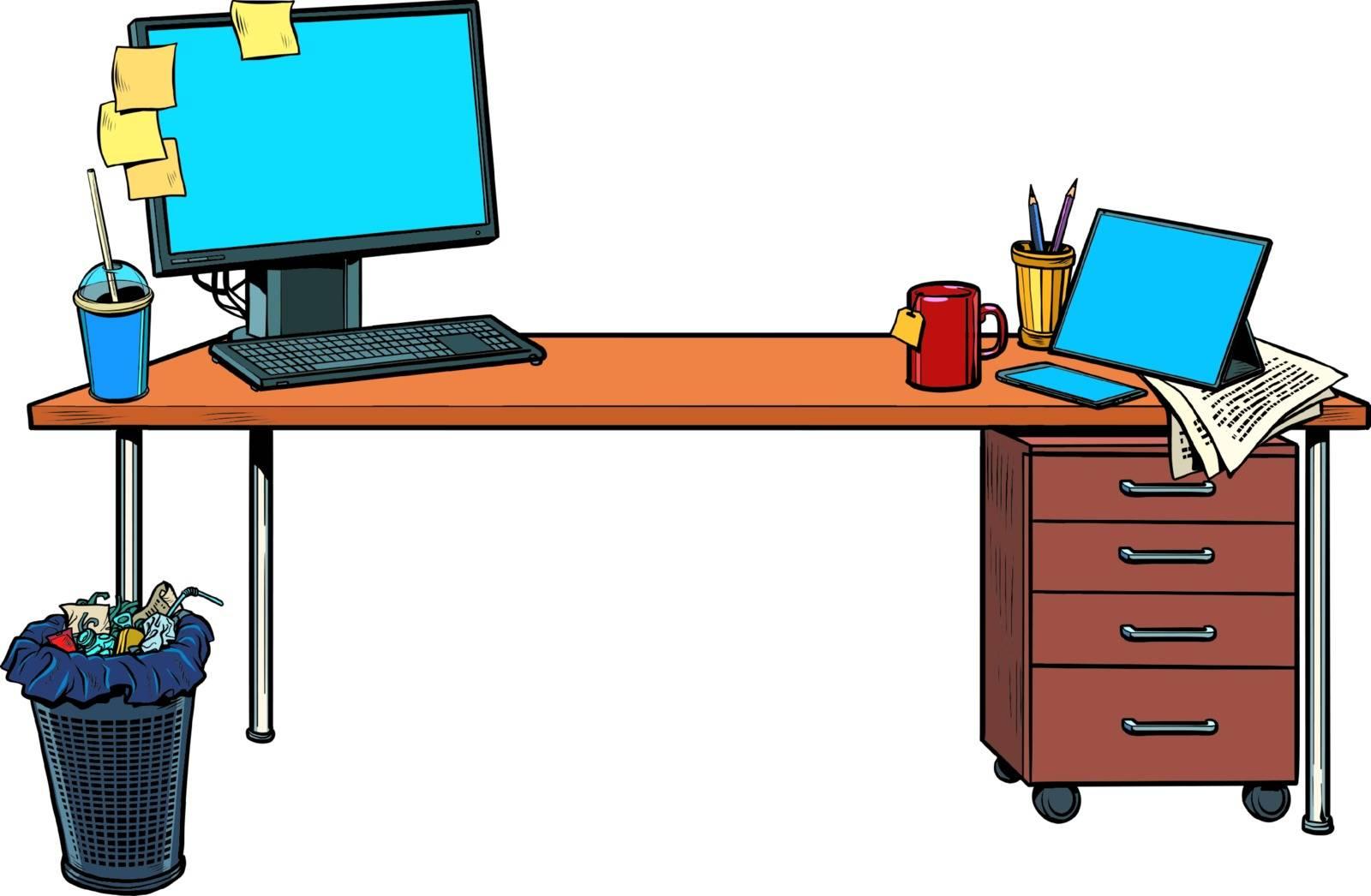 office Desk with computer. Pop art retro vector illustration vintage kitsch 50s 60s style