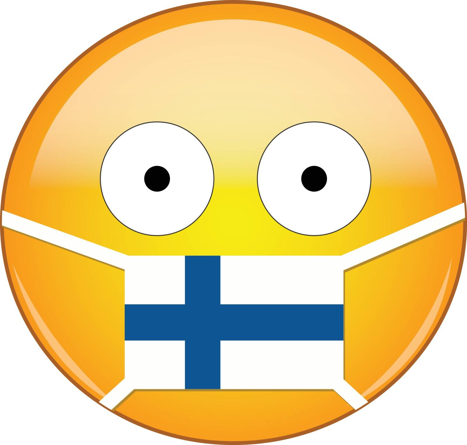 Finnish emoji in a medical mask protecting from SARS, coronavirus, bird flu and other viruses, germs and bacteria and contagious disease as well as toxic smog and air pollution.