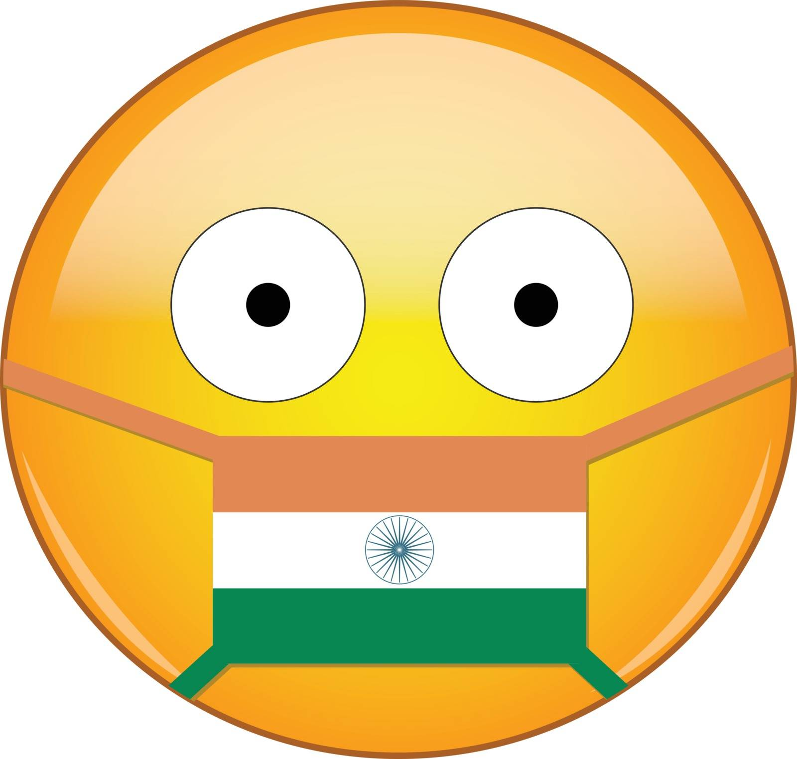 Indian emoji in a medical mask protecting from SARS, coronavirus, bird flu and other viruses, germs and bacteria and contagious disease as well as toxic smog and air pollution.