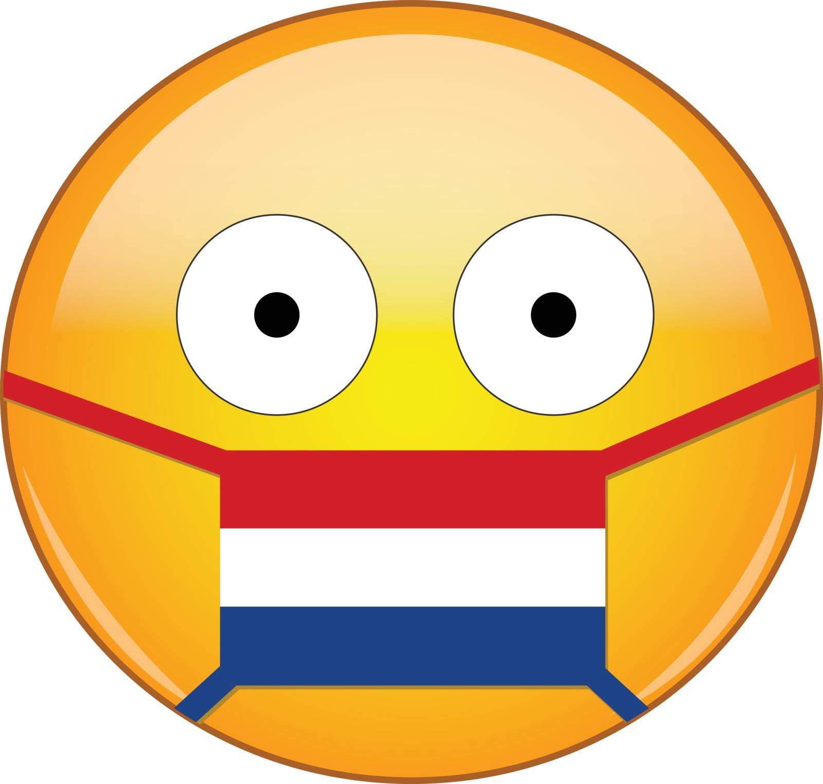 Yellow scared emoji in Dutch medical mask protecting from SARS, coronavirus, bird flu and other viruses, germs and bacteria and contagious disease as well as toxic smog in Netherlands.