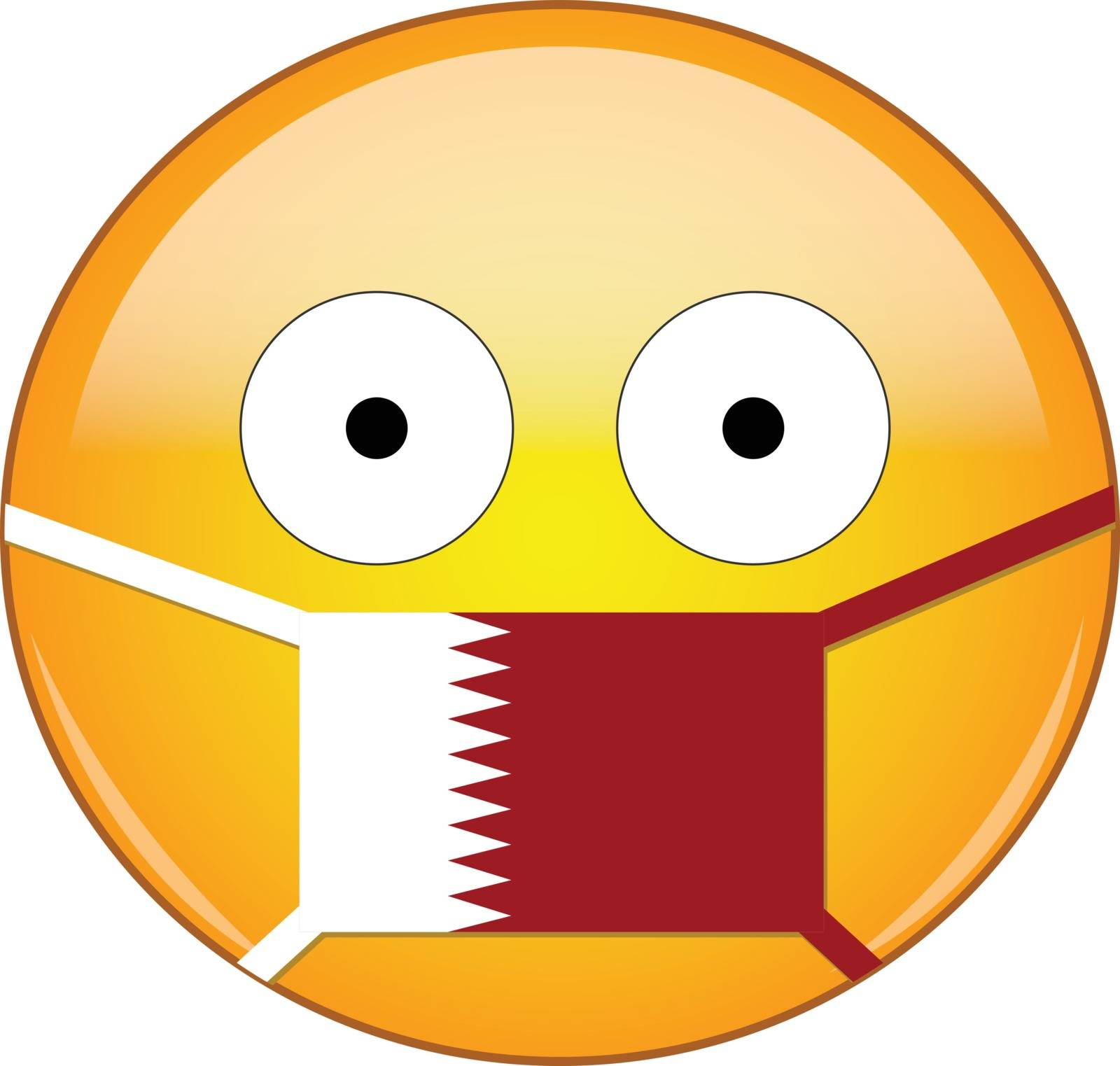 Yellow scared emoji in Qatari medical mask protecting from SARS, coronavirus, bird flu and other viruses, germs and bacteria and contagious disease as well as toxic smog in Qatar.