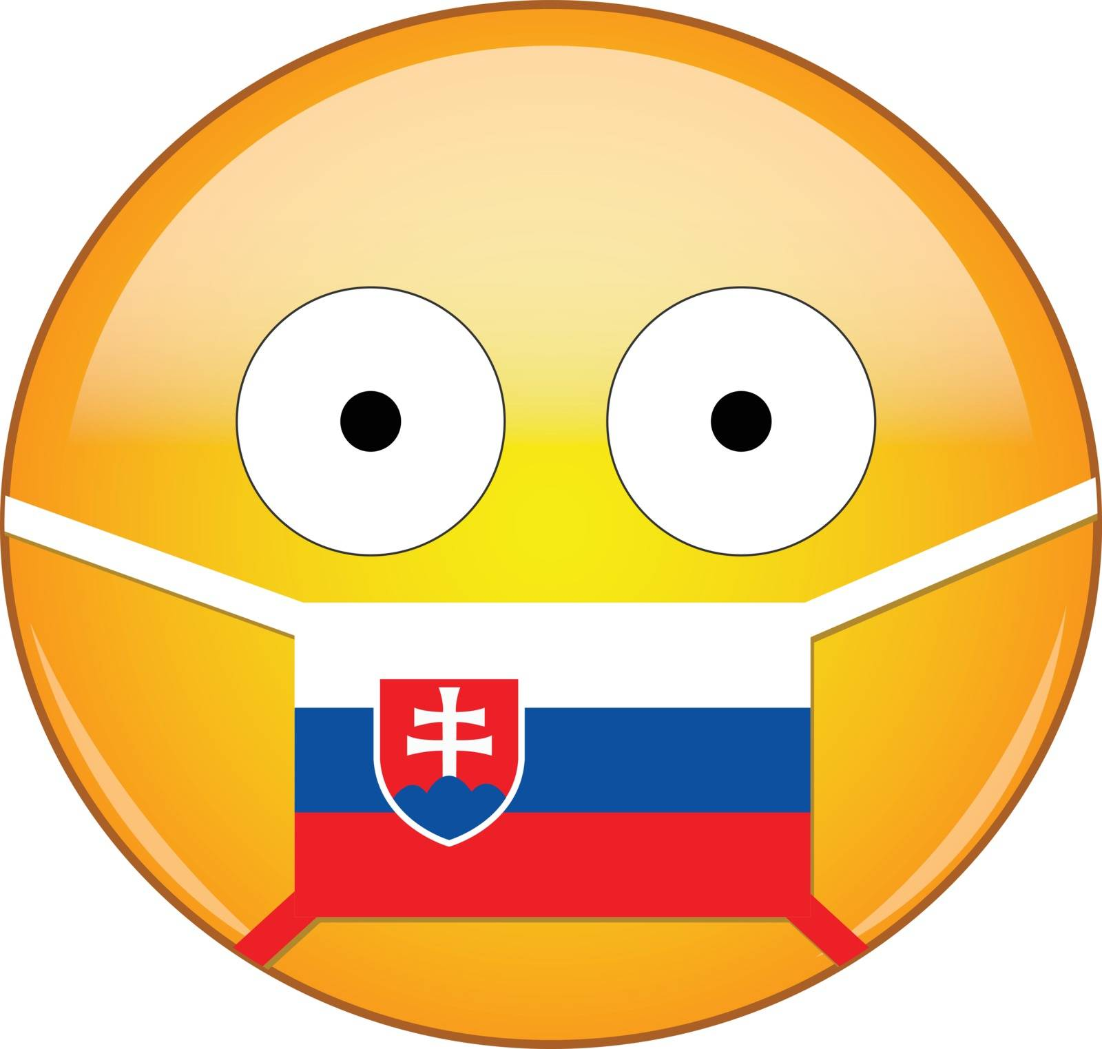 Yellow scared emoji in Slovak medical mask protecting from SARS, coronavirus, bird flu and other viruses, germs and bacteria and contagious disease as well as toxic smog in Slovakia.