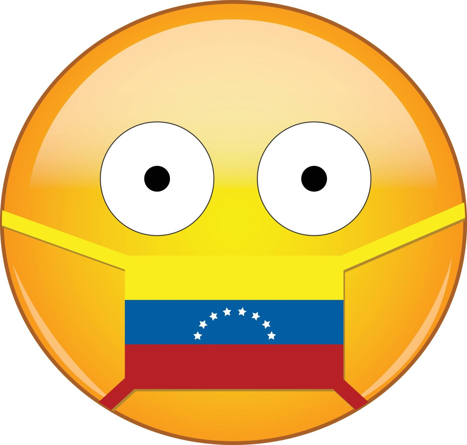 Yellow scared emoji in Venezuelan medical mask protecting from SARS, coronavirus, bird flu and other viruses, germs and bacteria and contagious disease as well as toxic smog in Venezuela