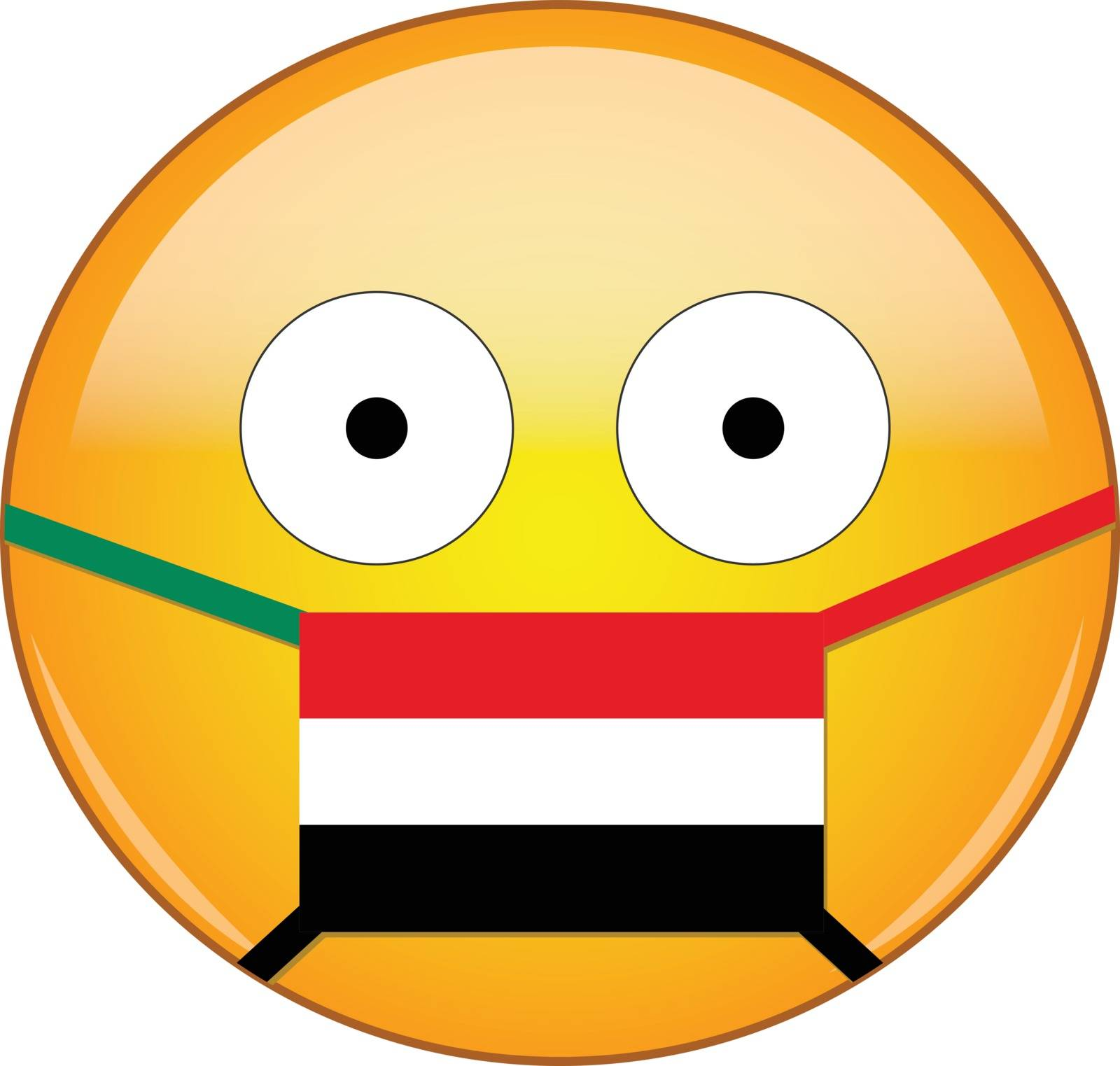 Yellow scared emoji in Yemeni medical mask protecting from SARS, coronavirus, bird flu and other viruses, germs and bacteria and contagious disease as well as toxic smog in Yemen.