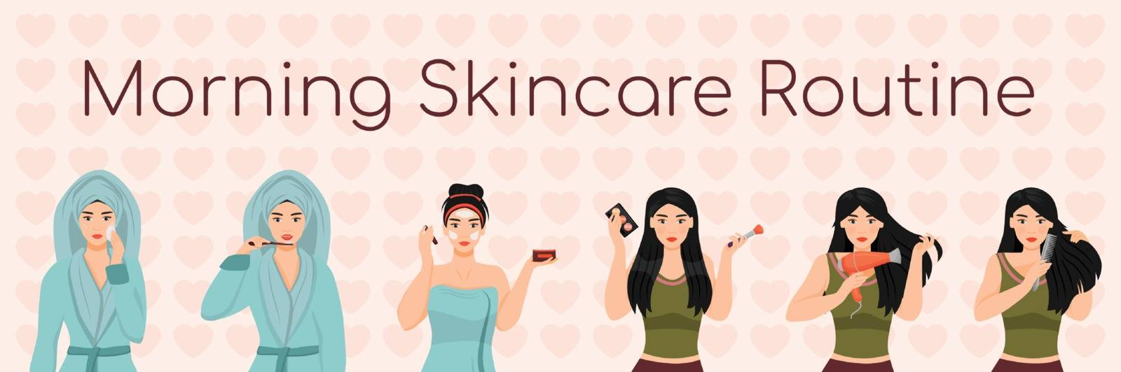 Woman morning skincare routine flat color vector characters set. Healthy skin and hair daily procedures isolated cartoon illustrations on white background. Girl brushing teeth, drying hair
