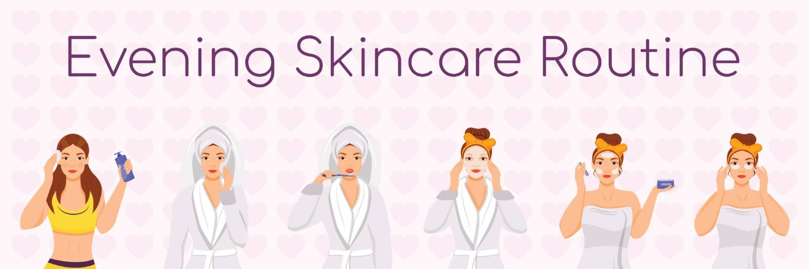 Evening skincare routine flat color vector characters set. Skin treatment steps. Face daily procedures isolated cartoon illustrations on white background. Girl cleansing face, applying sheet mask