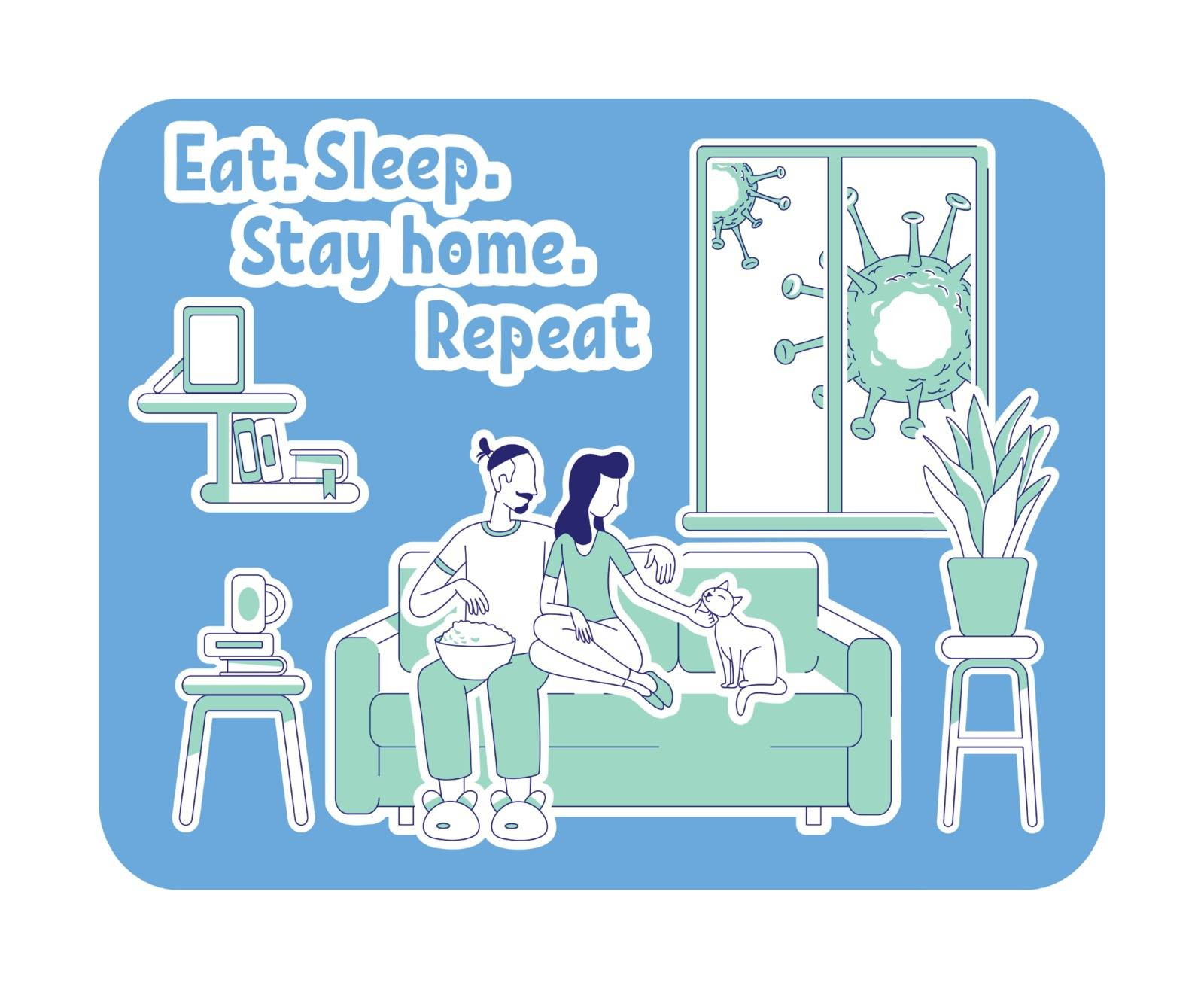 Eat, sleep, stay home, repeat thin line concept vector illustration. Couple chill on sofa. Man and woman sit on couch. Quarantine 2D cartoon characters for web design. Self isolation creative idea. ZIP file contains: EPS, JPG. If you are interested in custom design or want to make some adjustments to purchase the product, don't hesitate to contact us! bsd@bsdartfactory.com