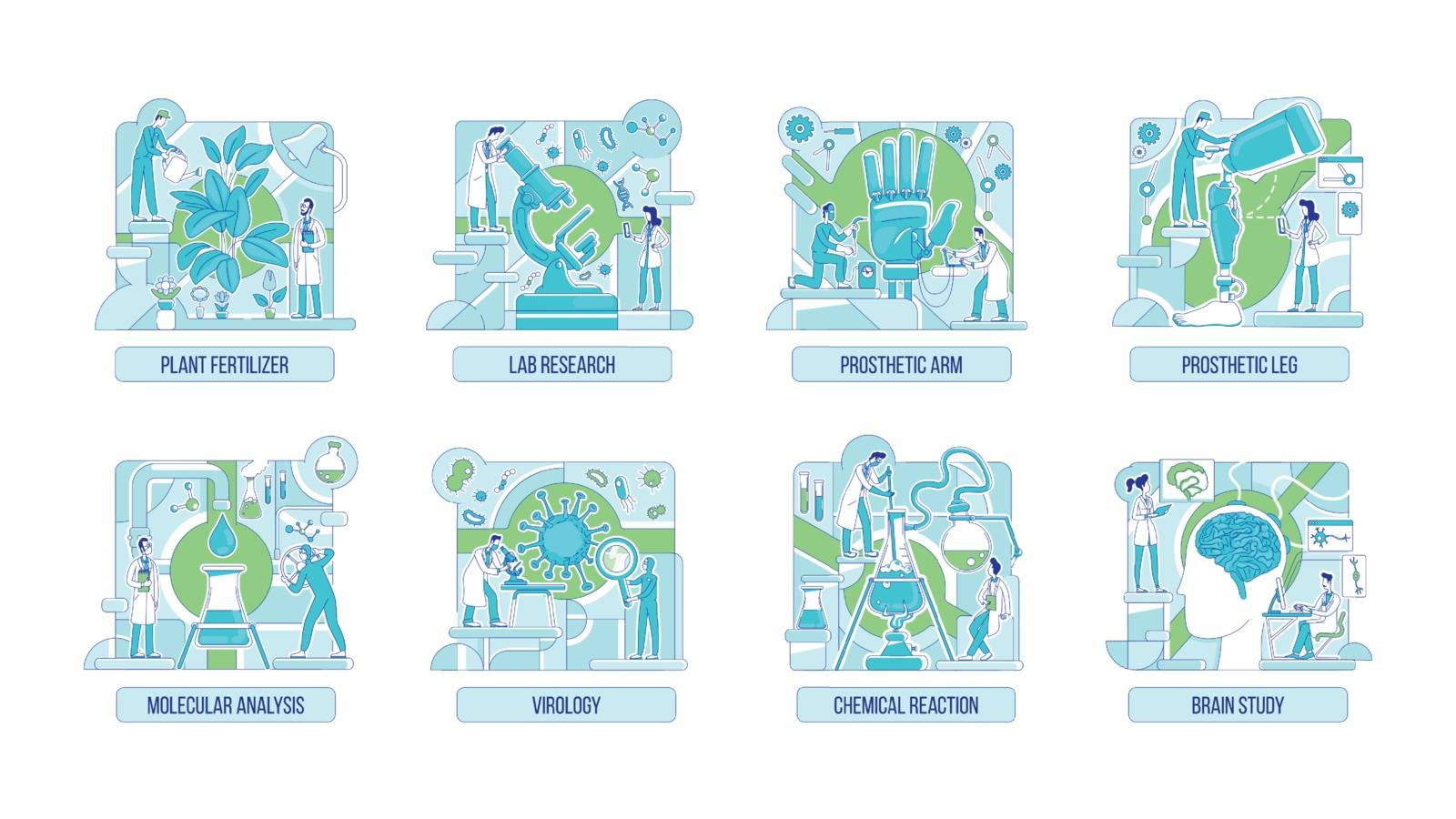 Laboratory experiments thin line concept vector illustrations set. Scientists 2D cartoon characters for web design. Biology, chemistry, prosthetics, neuroscience and botany creative ideas. ZIP file contains: EPS, JPG. If you are interested in custom design or want to make some adjustments to purchase the product, don't hesitate to contact us! bsd@bsdartfactory.com
