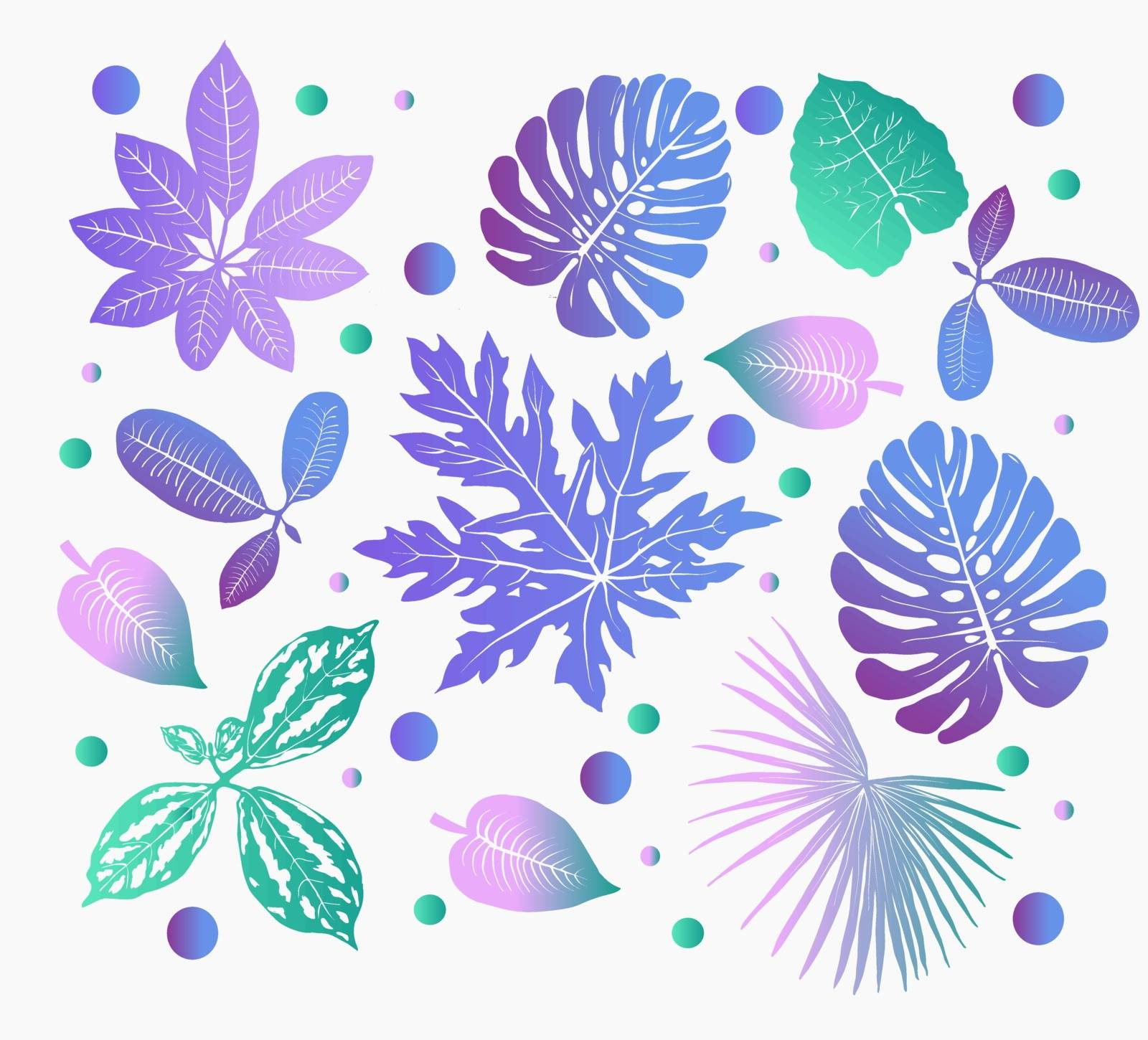 Vector decorative Tropical plants leaves silhouettes gradient illustration on white background. Colorful  jungle foliage trendy set.