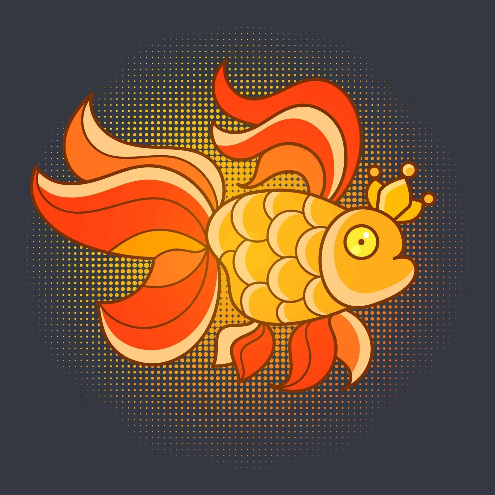 Goldfish, Realistic Illustration Vector Icon. Silhouette Sticker, Patch Badge. Cute Magic Cartoon Fantasy Cute Animal. Symbol Of Sleep. Design For Children