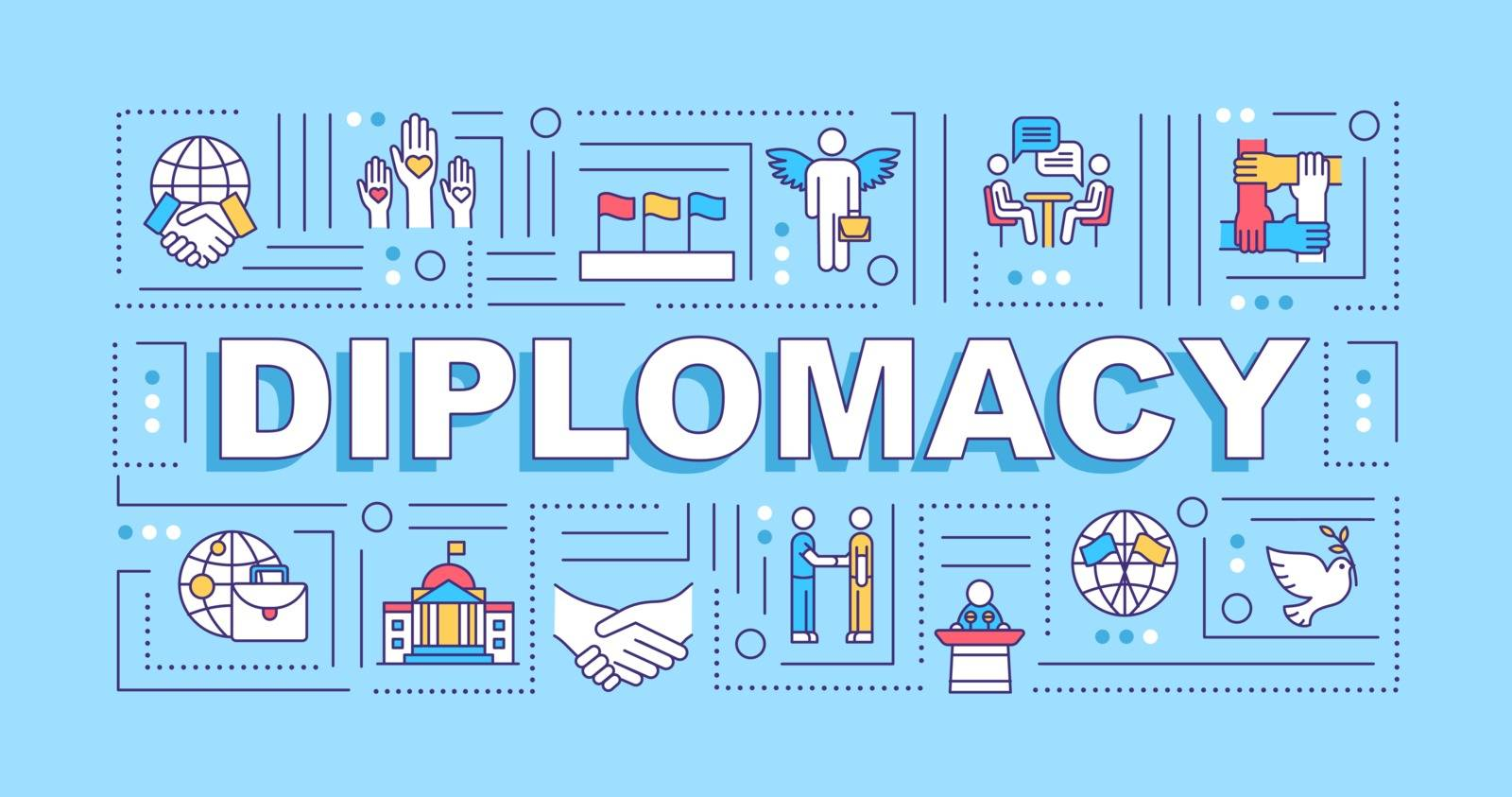 Diplomacy word concepts banner. Multicultural negotiation. International relation. Infographics with linear icons on turquoise background. Isolated typography. Vector outline RGB color illustration
