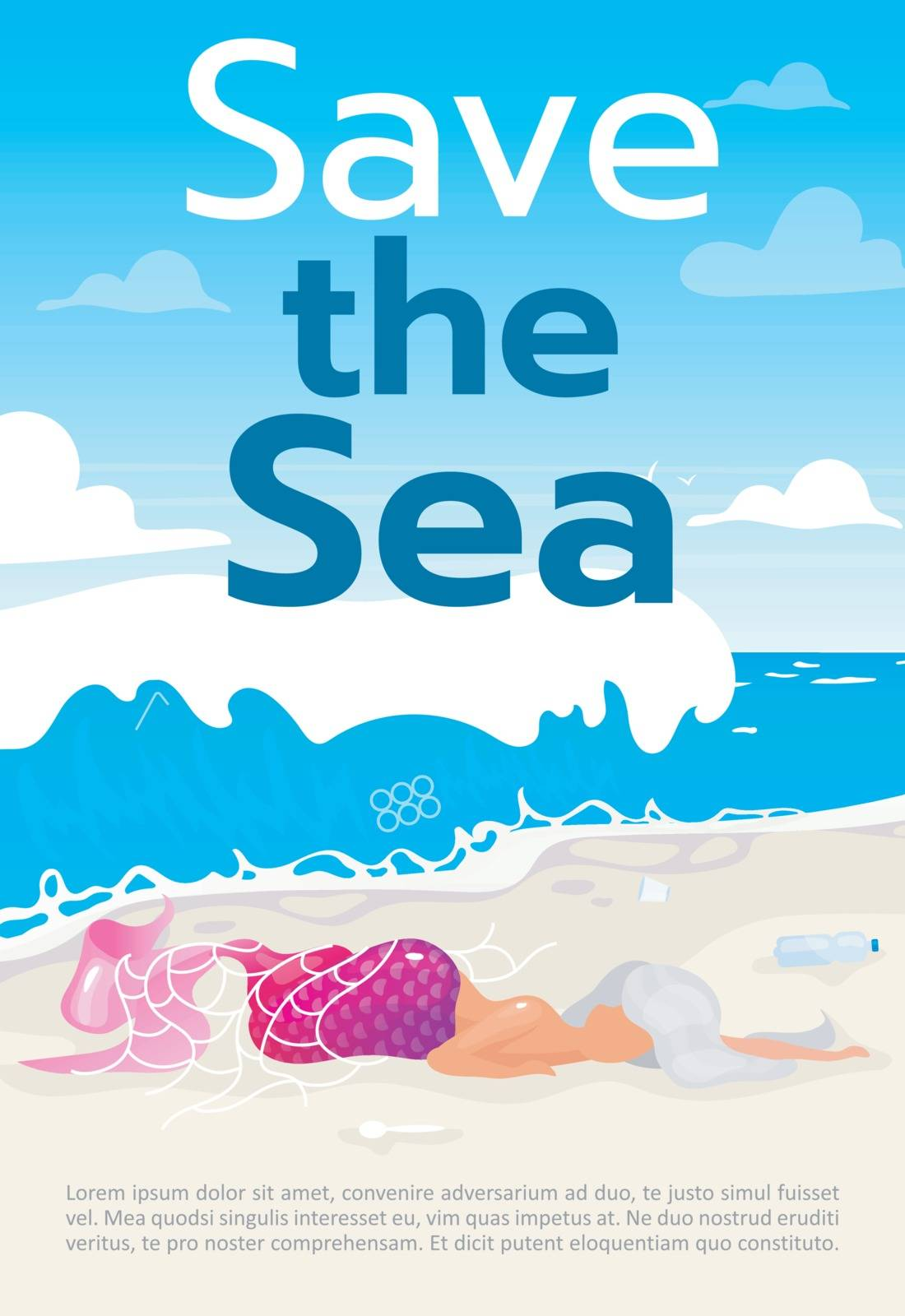 Save sea brochure template. Mermaid trapped in fishnet. Flyer, booklet, leaflet concept with flat illustrations. Vector page cartoon layout for magazine. Advertising poster with text space