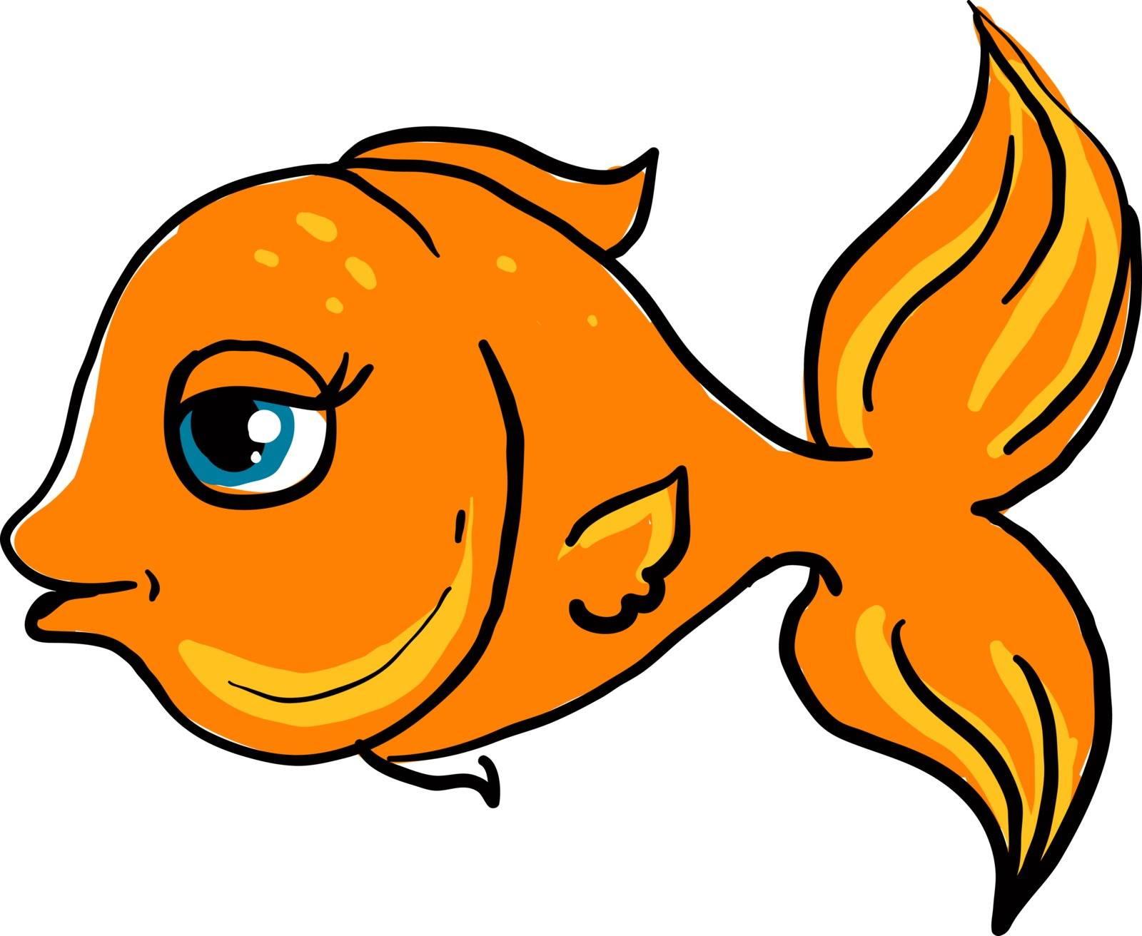 Happy gold fish, illustration, vector on white background.