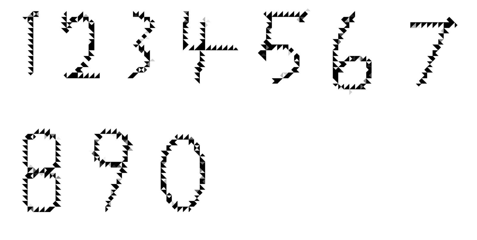 A picture of a full set of numbers in a unique style of lettering.