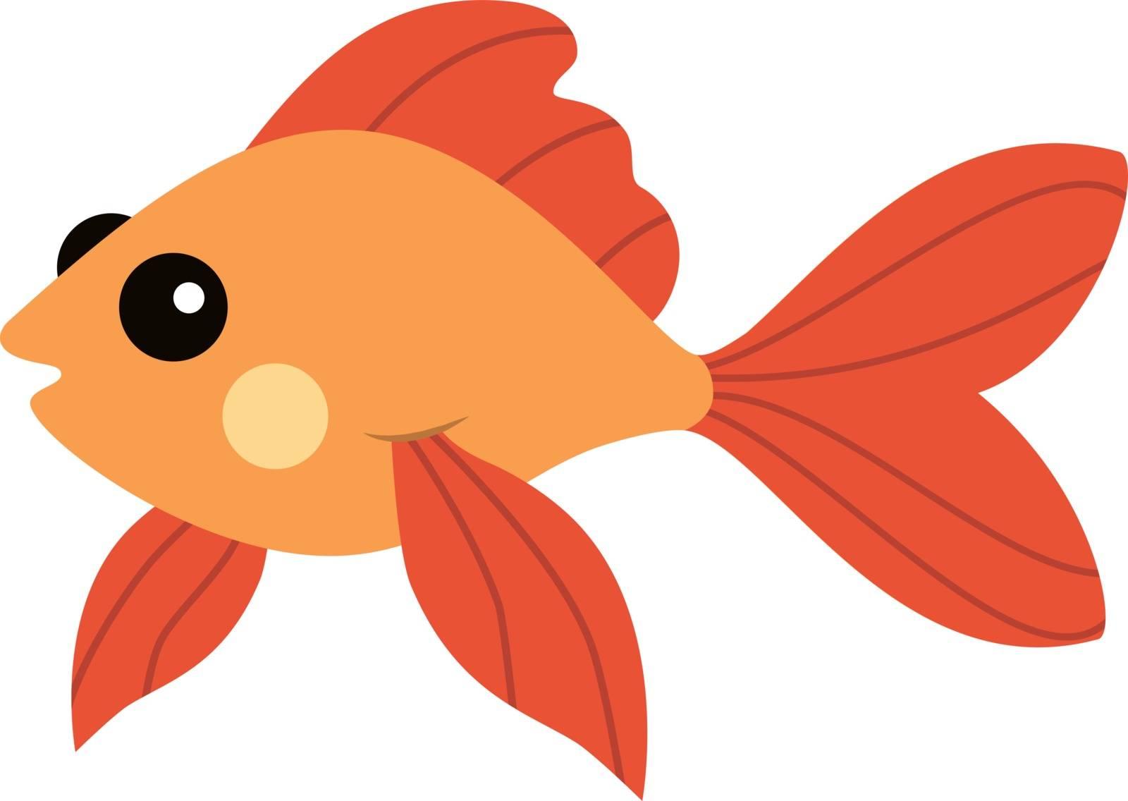 Golden fish, illustration, vector on white background.