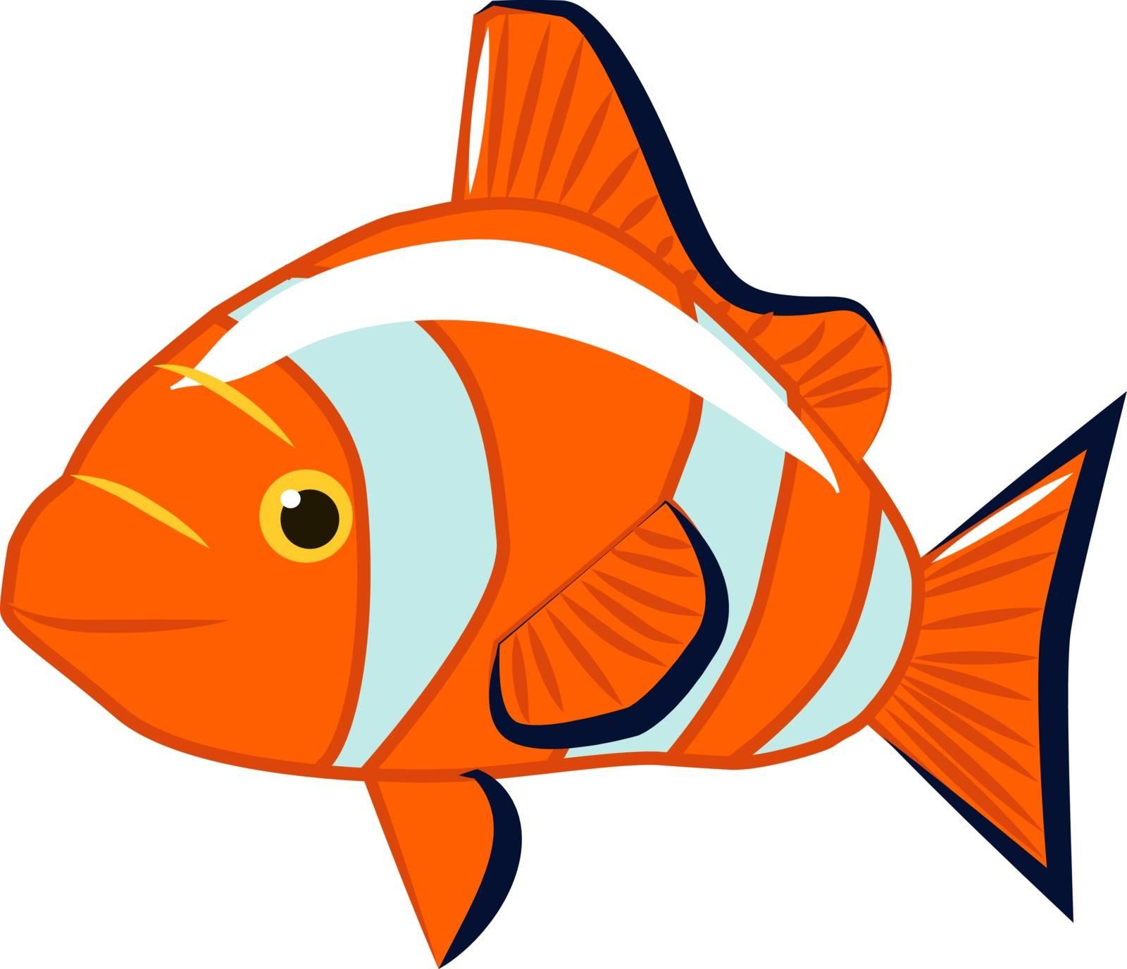 Orange fish, illustration, vector on white background.