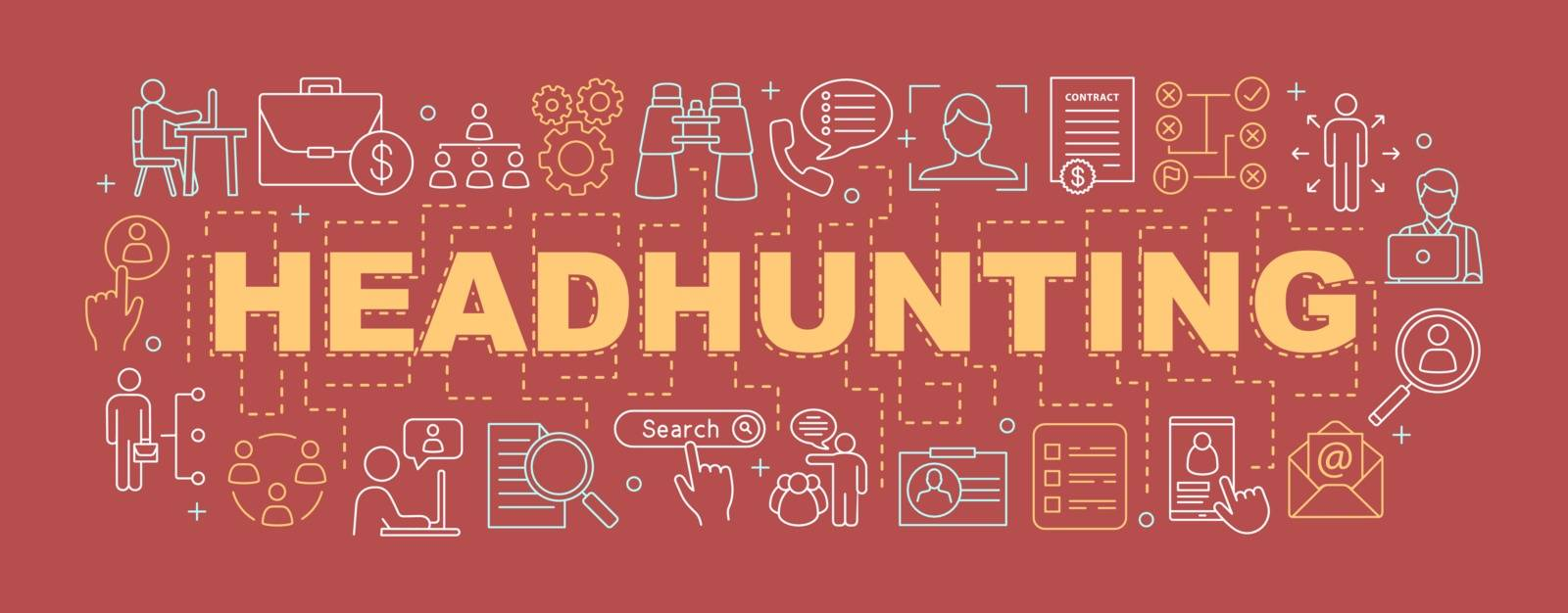 Headhunting concepts banner. Employment. HR mangement. Presentation, website. Staff hiring. Recruitment. Isolated lettering typography idea with linear icons. Vector outline illustration