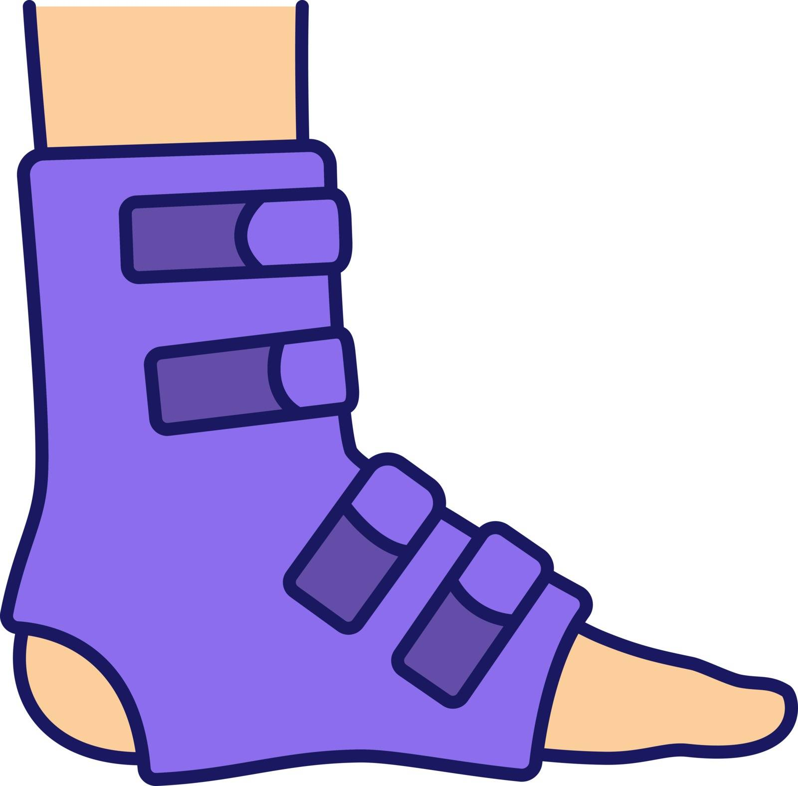 Foot ankle brace color icon. Foot orthosis. Leg brace. Adjustable ankle joint bandage. Joint pain relief, muscle sprain treatment. Isolated vector illustration