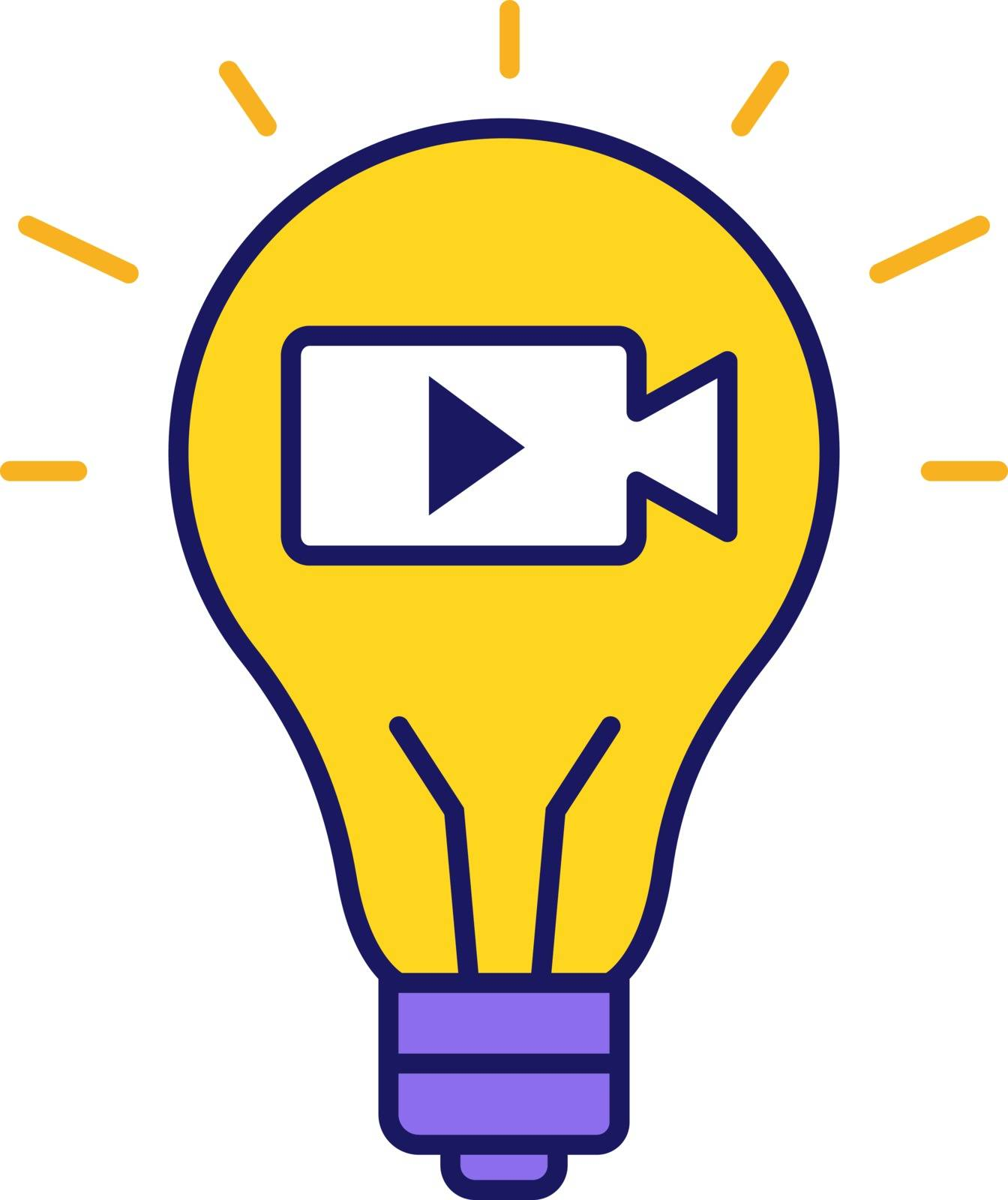 Movie idea color icon. Cinematography. Film industry. Creative idea. Light bulb with movie camera inside. Isolated vector illustration