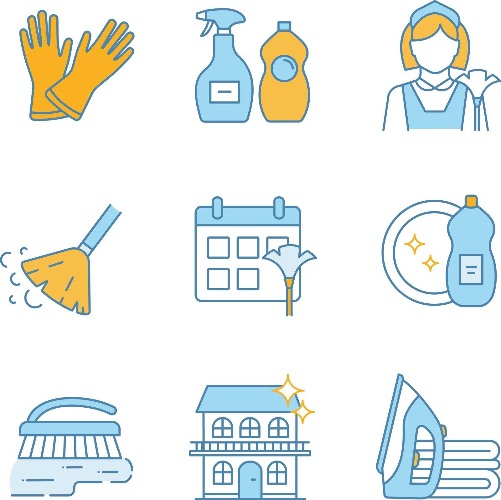 Cleaning service color icons set. Household gloves, detergents, maid, broom, schedule, dishwash, scrub brush, ironing, house cleaning. Isolated vector illustrations