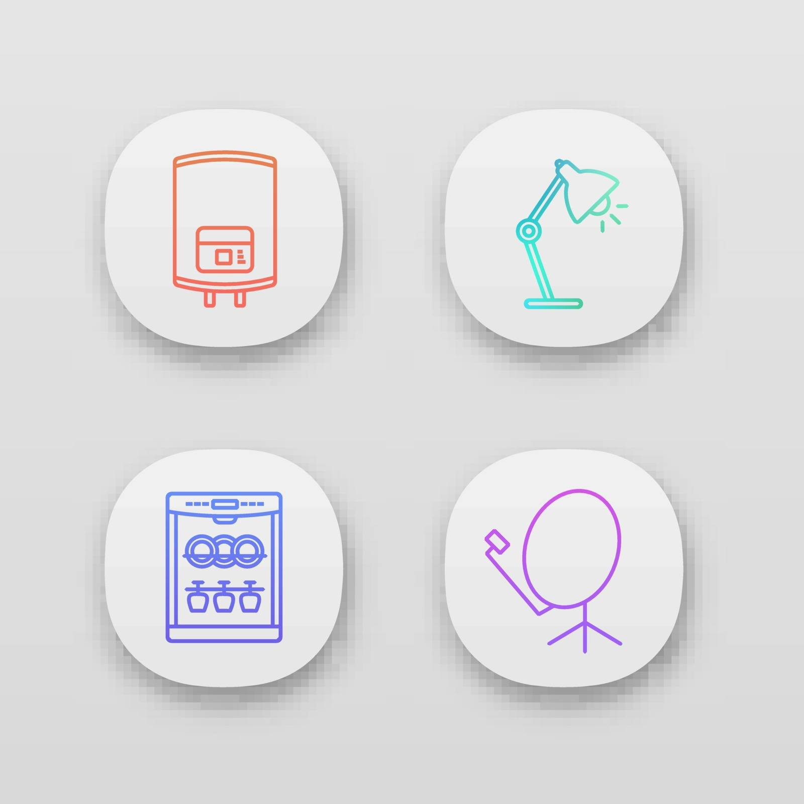 Household appliance app icons set. Electric water heater, table lamp, dishwasher, satellite dish. UI/UX user interface. Web or mobile applications. Vector isolated illustrations
