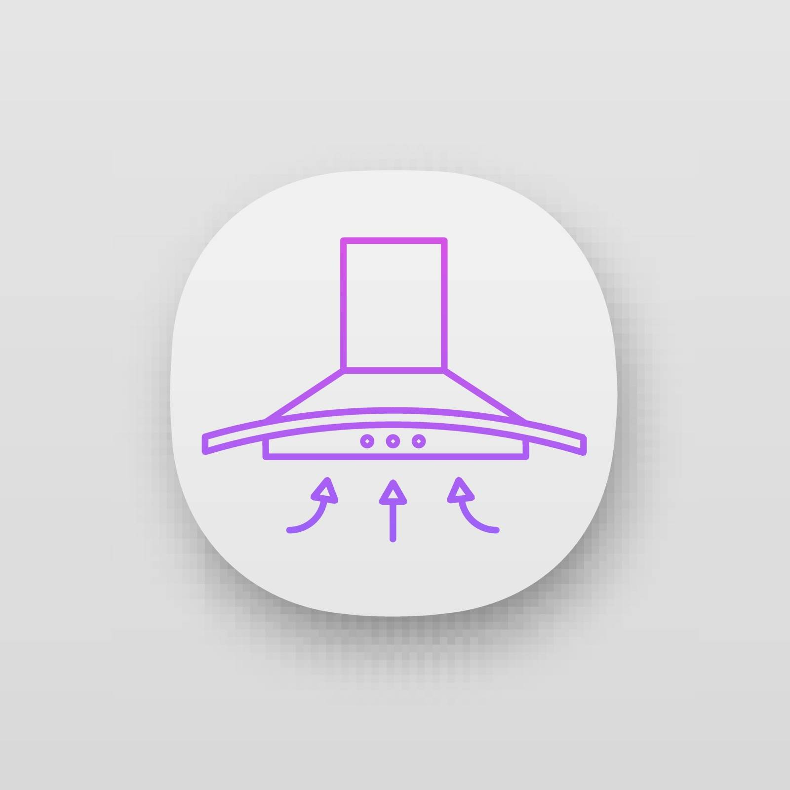 Range hood app icon. UI/UX user interface. Kitchen extractor fan. Cooker hood. Kitchen exhaust. Household appliance. Web or mobile application. Vector isolated illustration