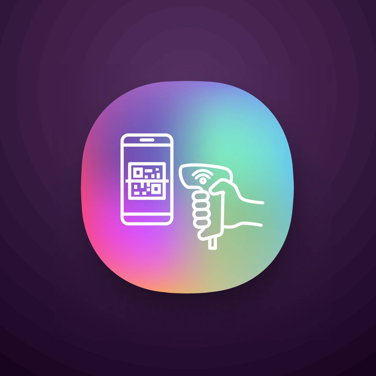 Payment QR with code scanner scanning phone screen app icon. Wifi 2D barcode reader. Wireless QR code barcode scanner. Handheld matrix barcodes scanning. UI/UX interface. Vector isolated illustration