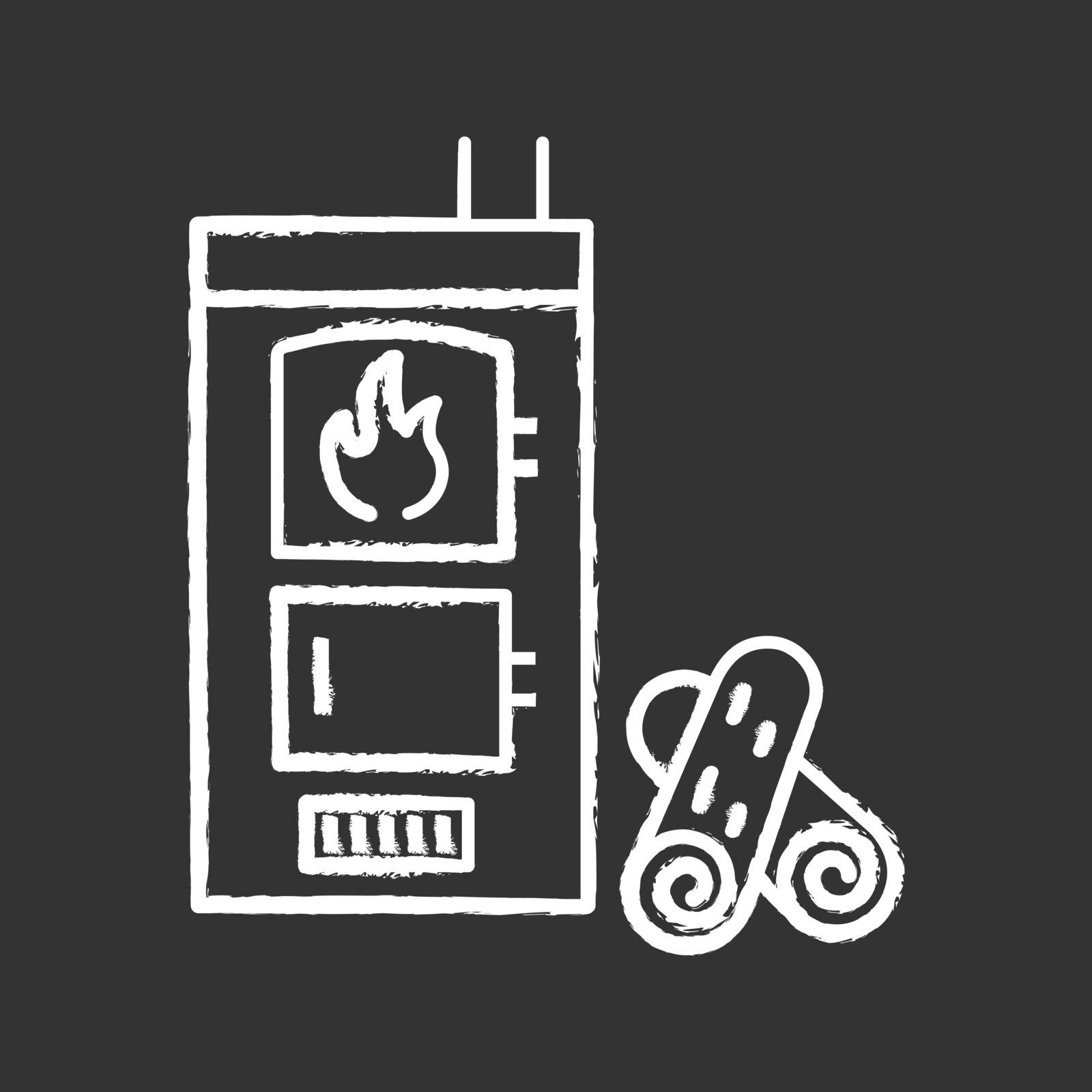 Solid fuel boiler chalk icon. House central heater. Firewood boiler with two chambers. Heating system. Isolated vector chalkboard illustration
