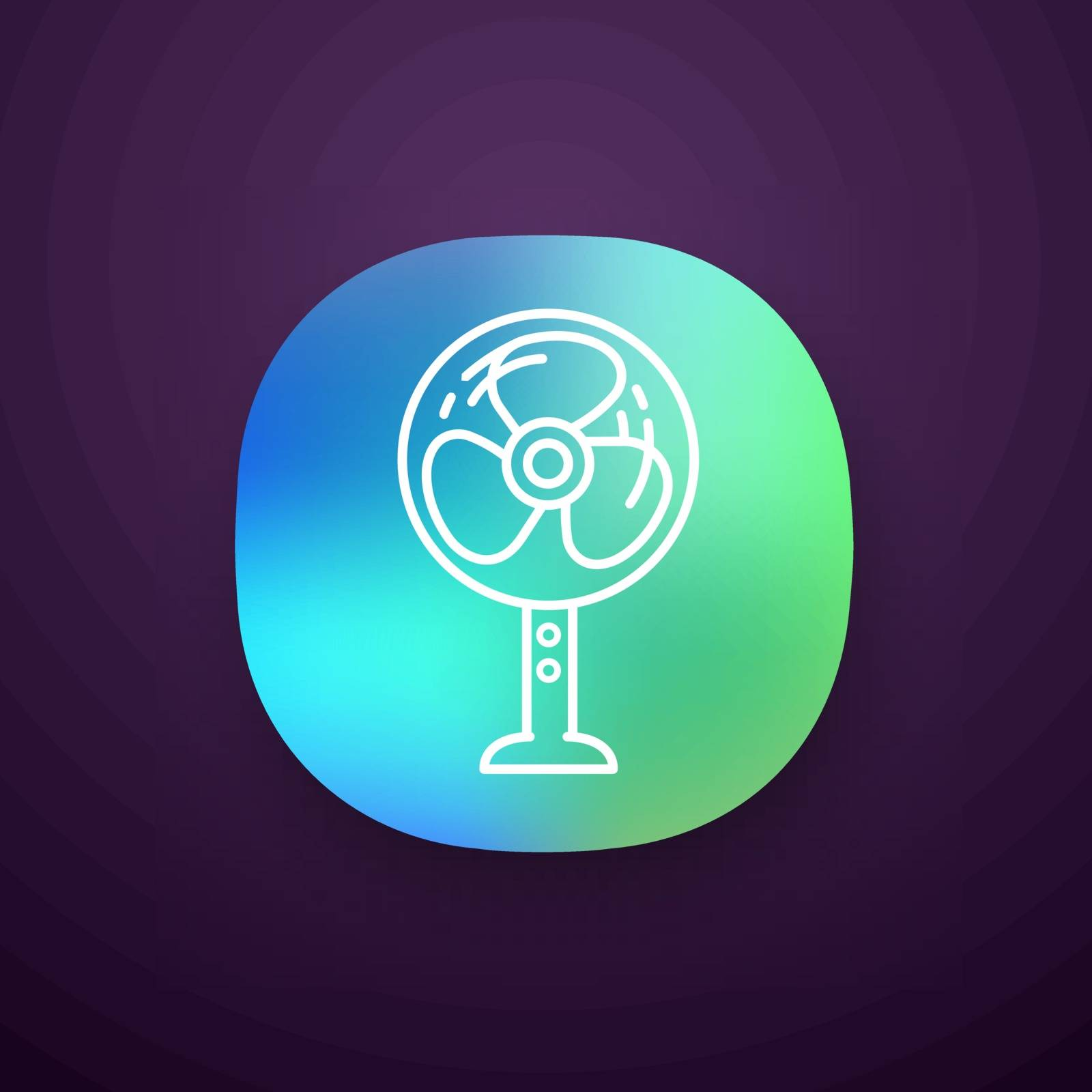 Stand floor fan app icon. Home cooling fan. Household appliance. UI UX user interface. Web or mobile application. Vector isolated illustration