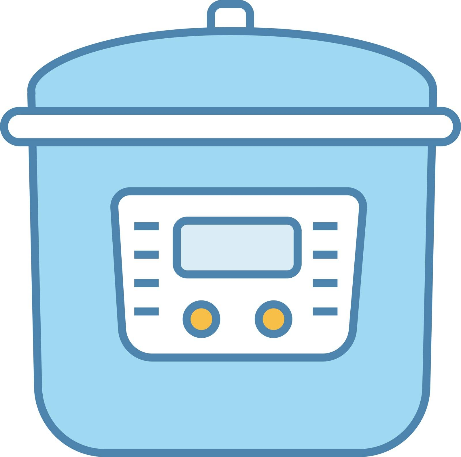 Multi cooker color icon. Slow cooker. Crock pot. Pressure multicooker. Kitchen appliance. Isolated vector illustration