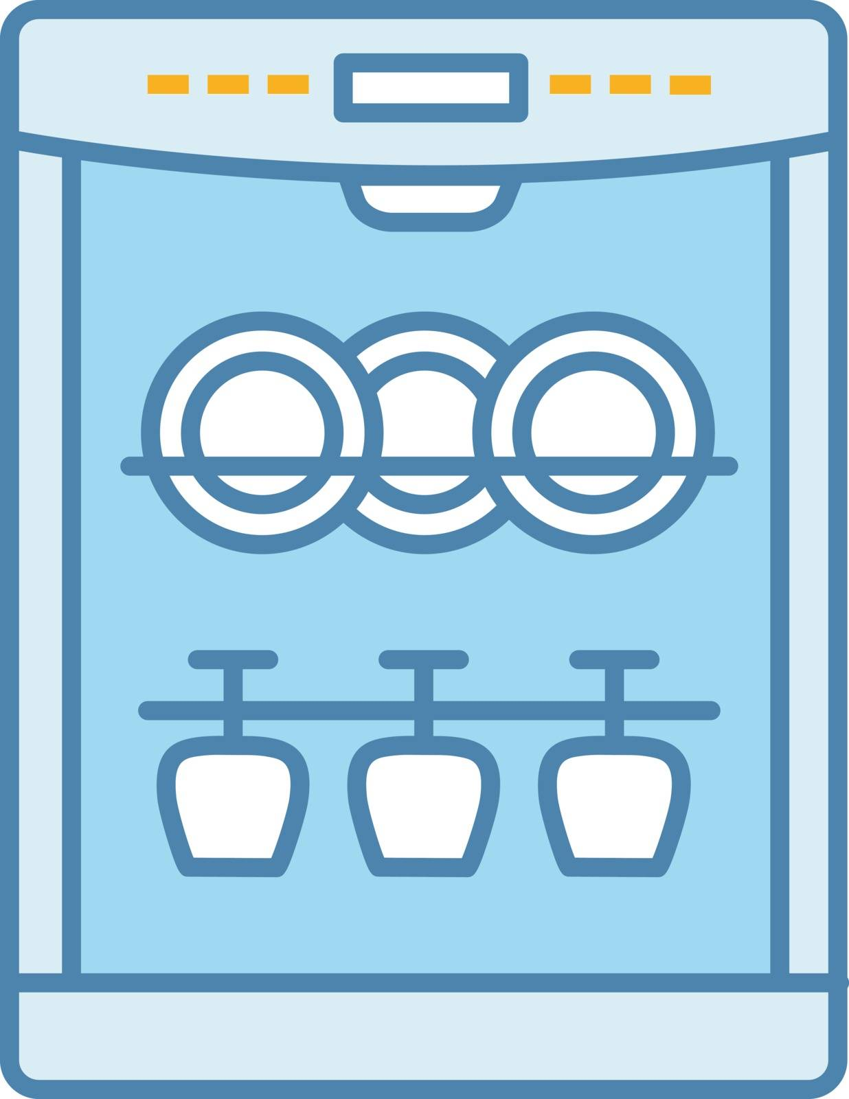 Dishwasher color icon. Automatic dishware and cutlery cleaning. Kitchen appliance. Restaurant, cafe equipment. Isolated vector illustration