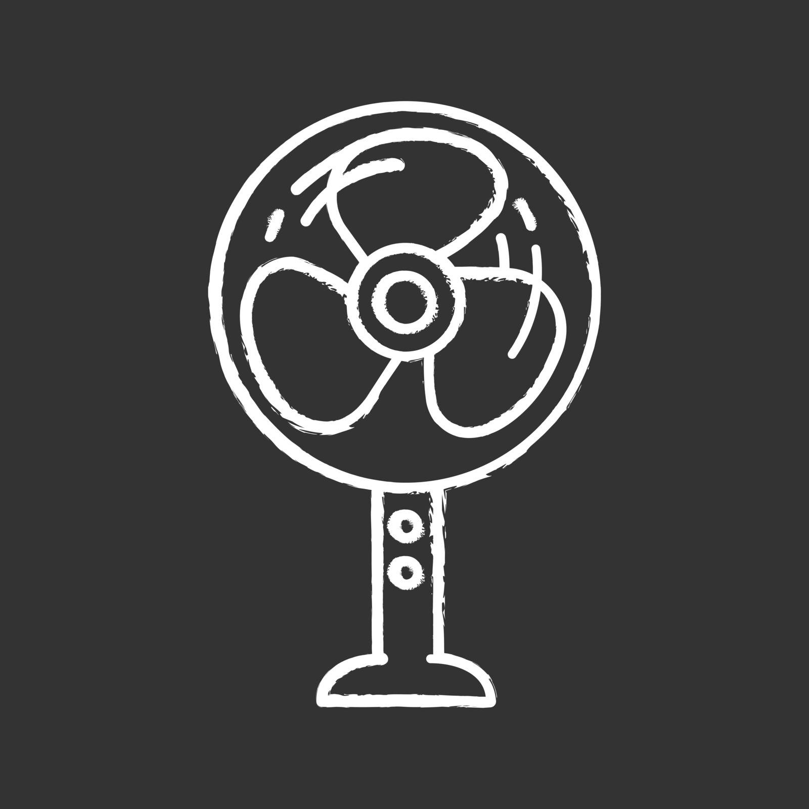 Stand floor fan chalk icon. Home cooling fan. Household appliance. Isolated vector chalkboard illustration